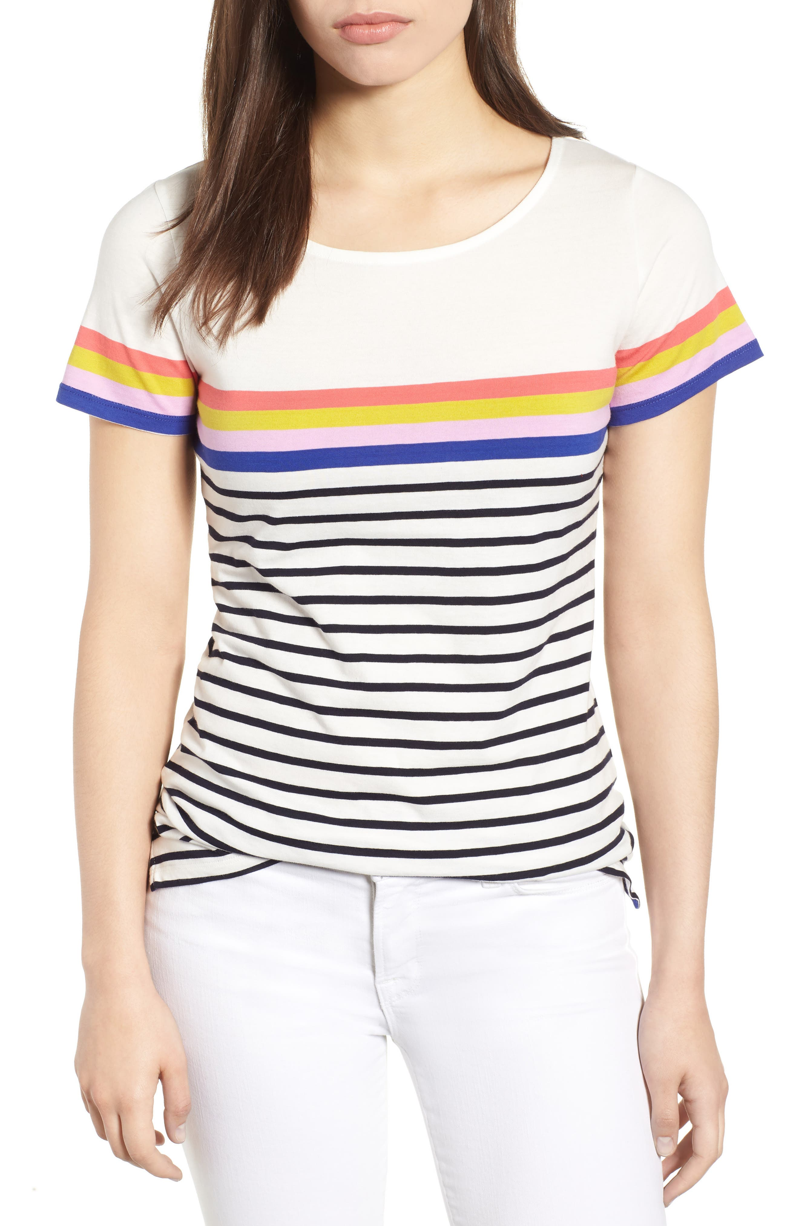 Breton Short Sleeve Stripe Cotton Top,                             Main thumbnail 5, color,
