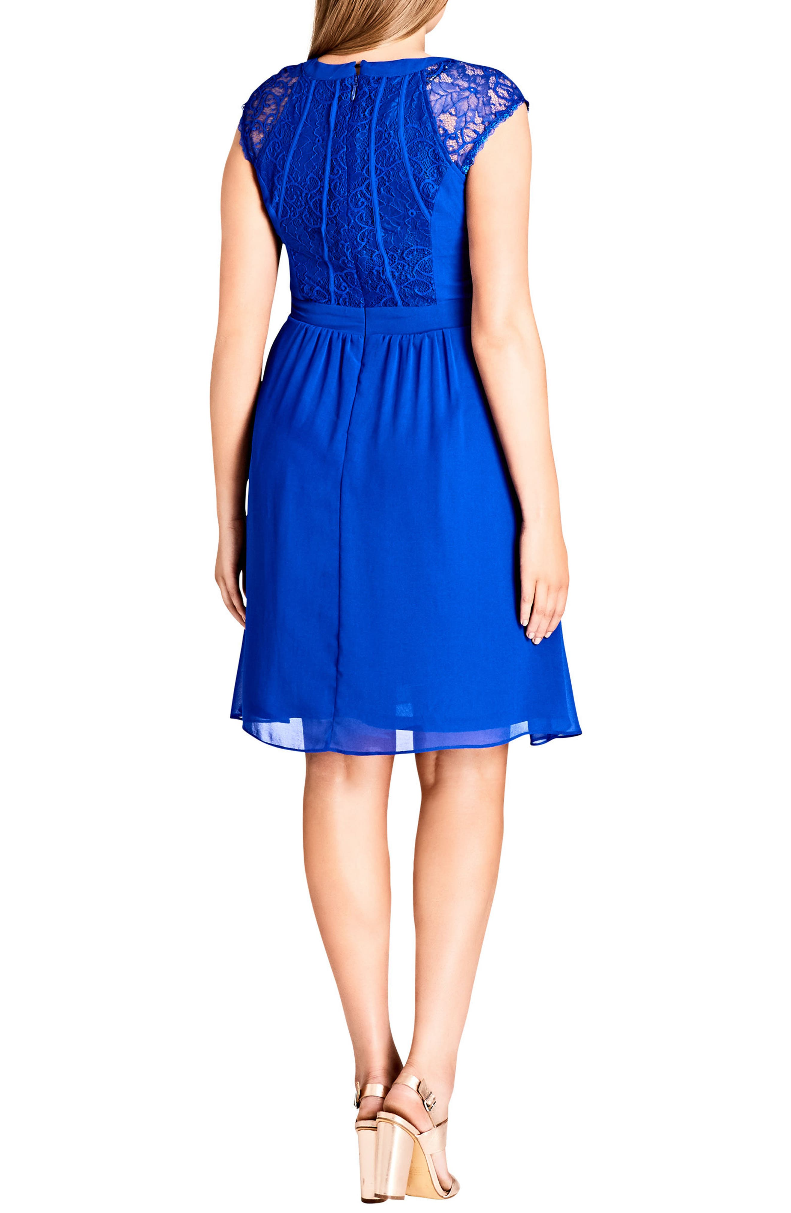 Lace Inset Fit & Flare Dress,                             Alternate thumbnail 2, color,                             ULTRA BLUE