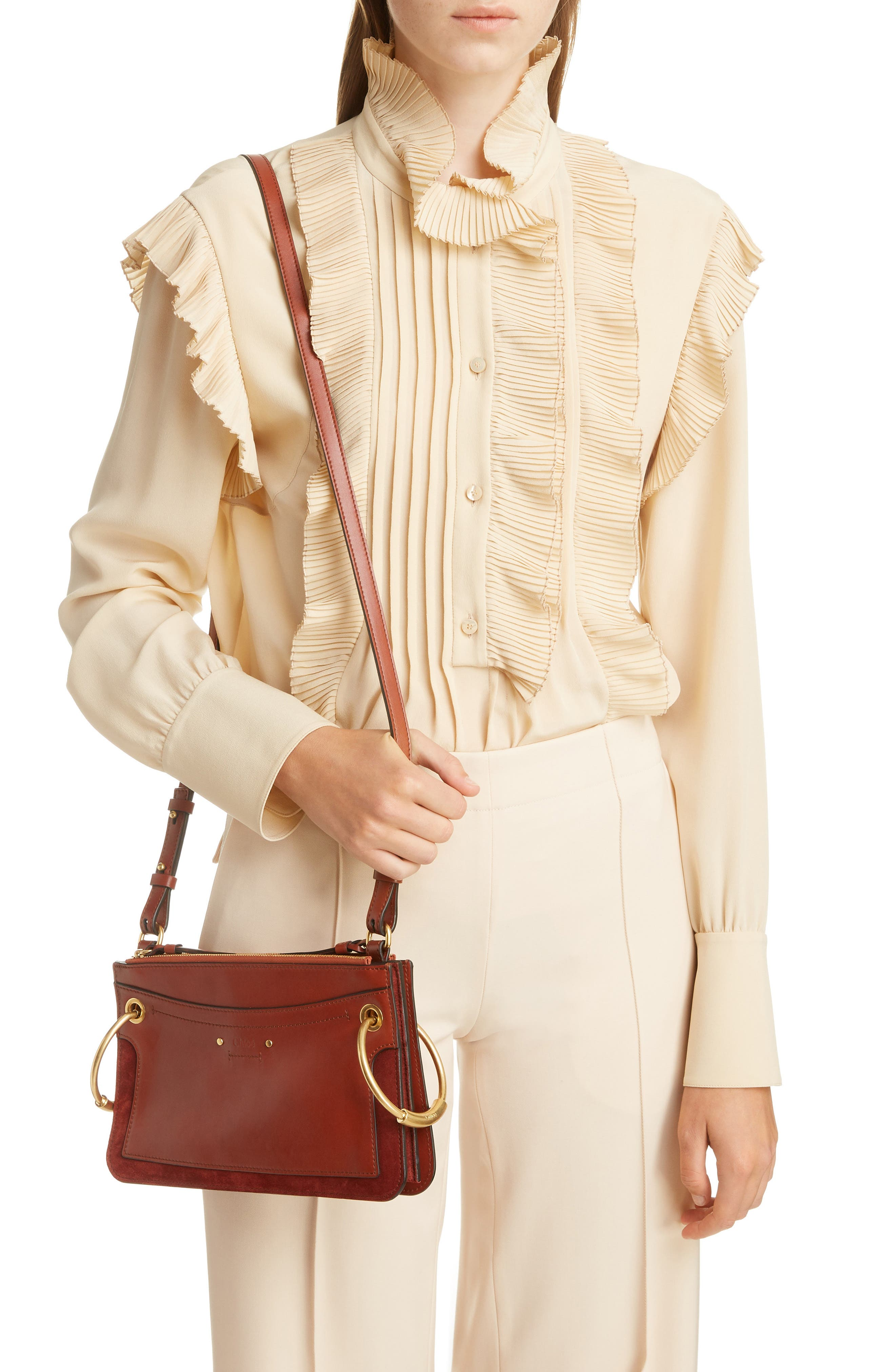 Small Roy Leather Shoulder Bag,                             Alternate thumbnail 2, color,                             SEPIA BROWN