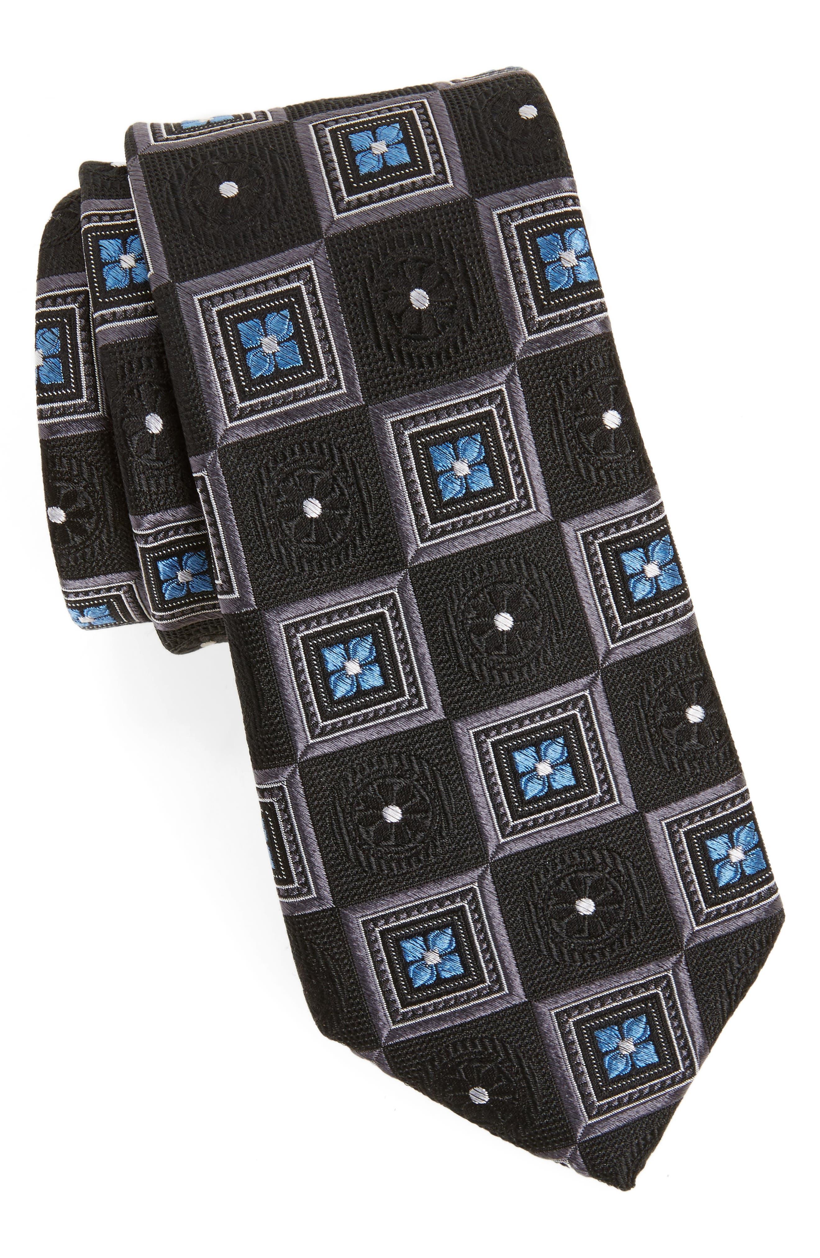 Medallion Squares Silk Tie,                         Main,                         color, 001