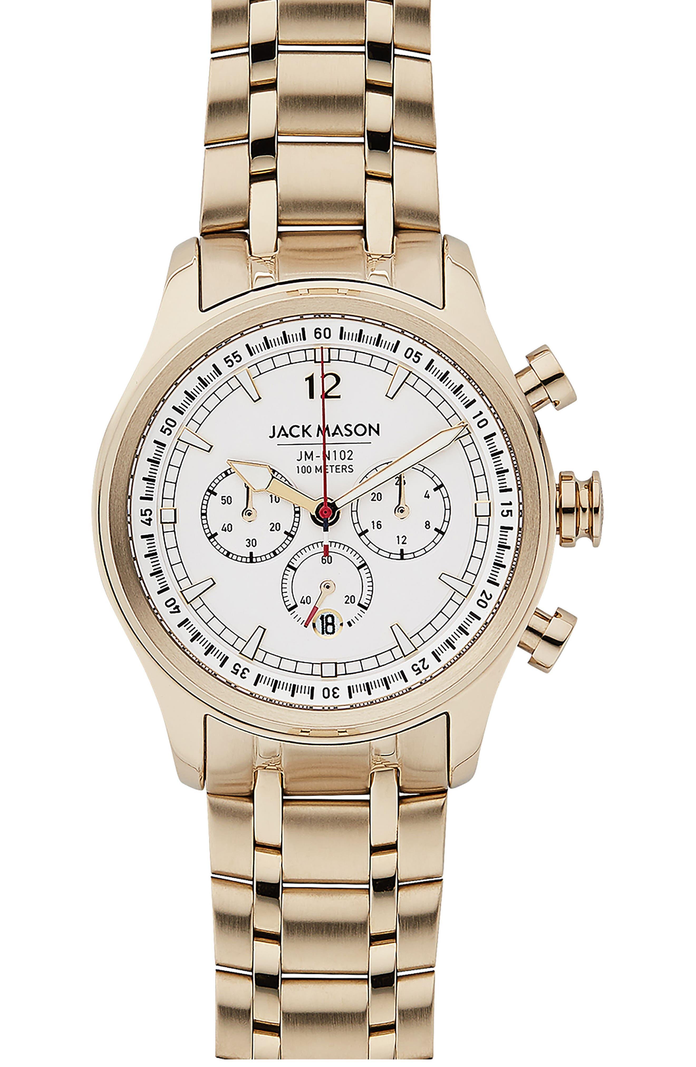 Nautical Chronograph Bracelet Watch, 42mm,                             Main thumbnail 1, color,                             WHITE/ GOLD