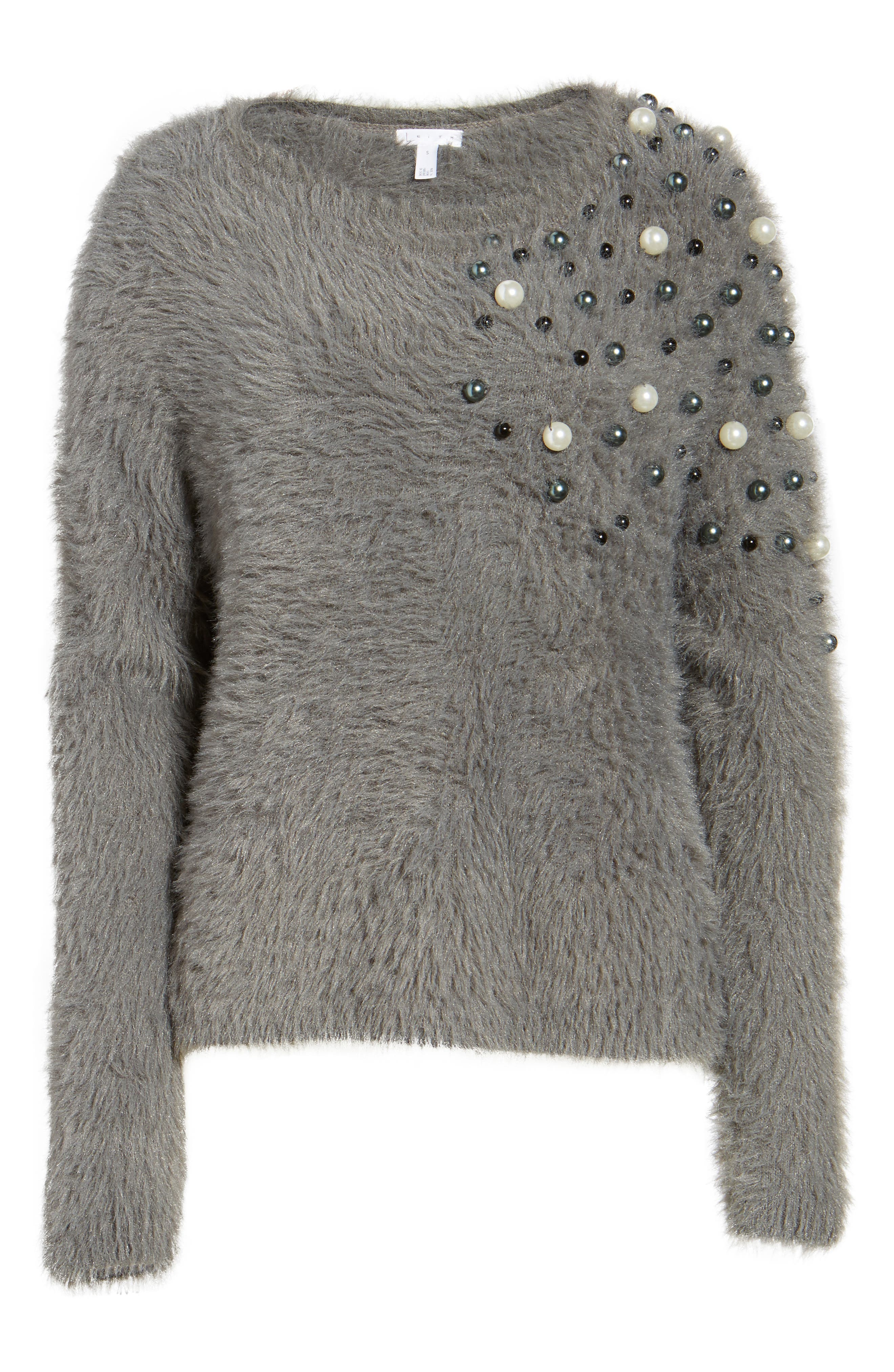 Embellished Faux Fur Sweater,                             Alternate thumbnail 6, color,                             021