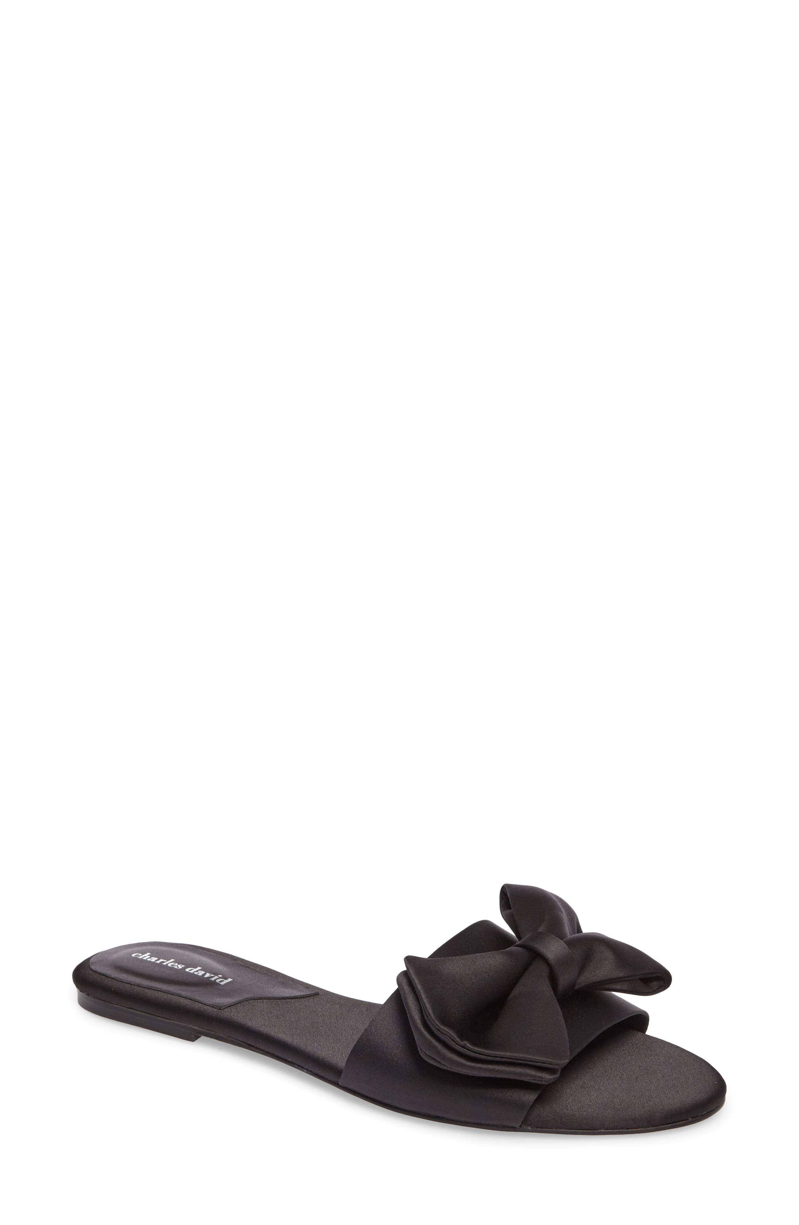 Bow Slide Sandal,                             Main thumbnail 1, color,                             002