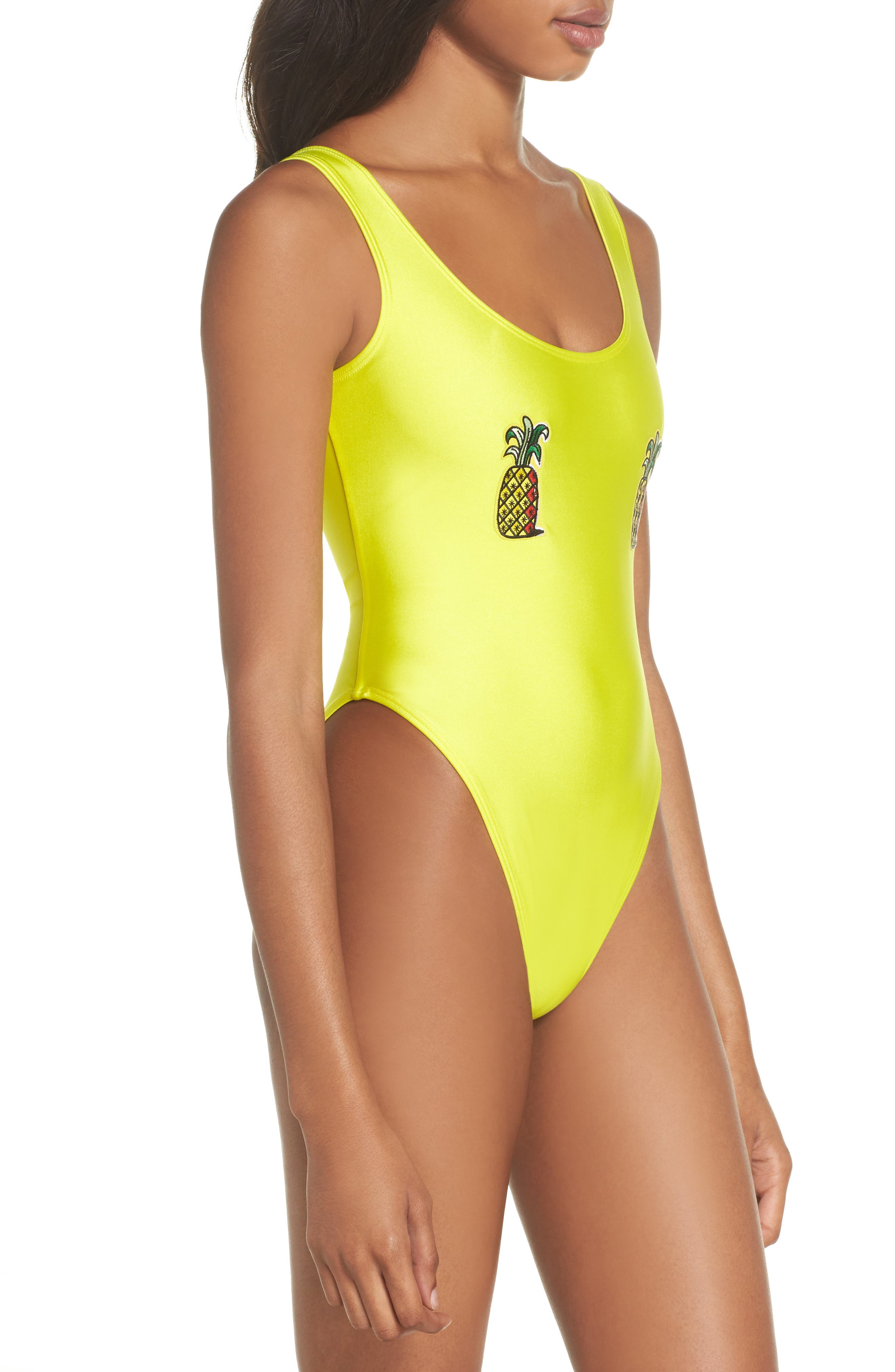 Classic Pineapple Neon One-Piece Swimsuit,                             Alternate thumbnail 3, color,                             700