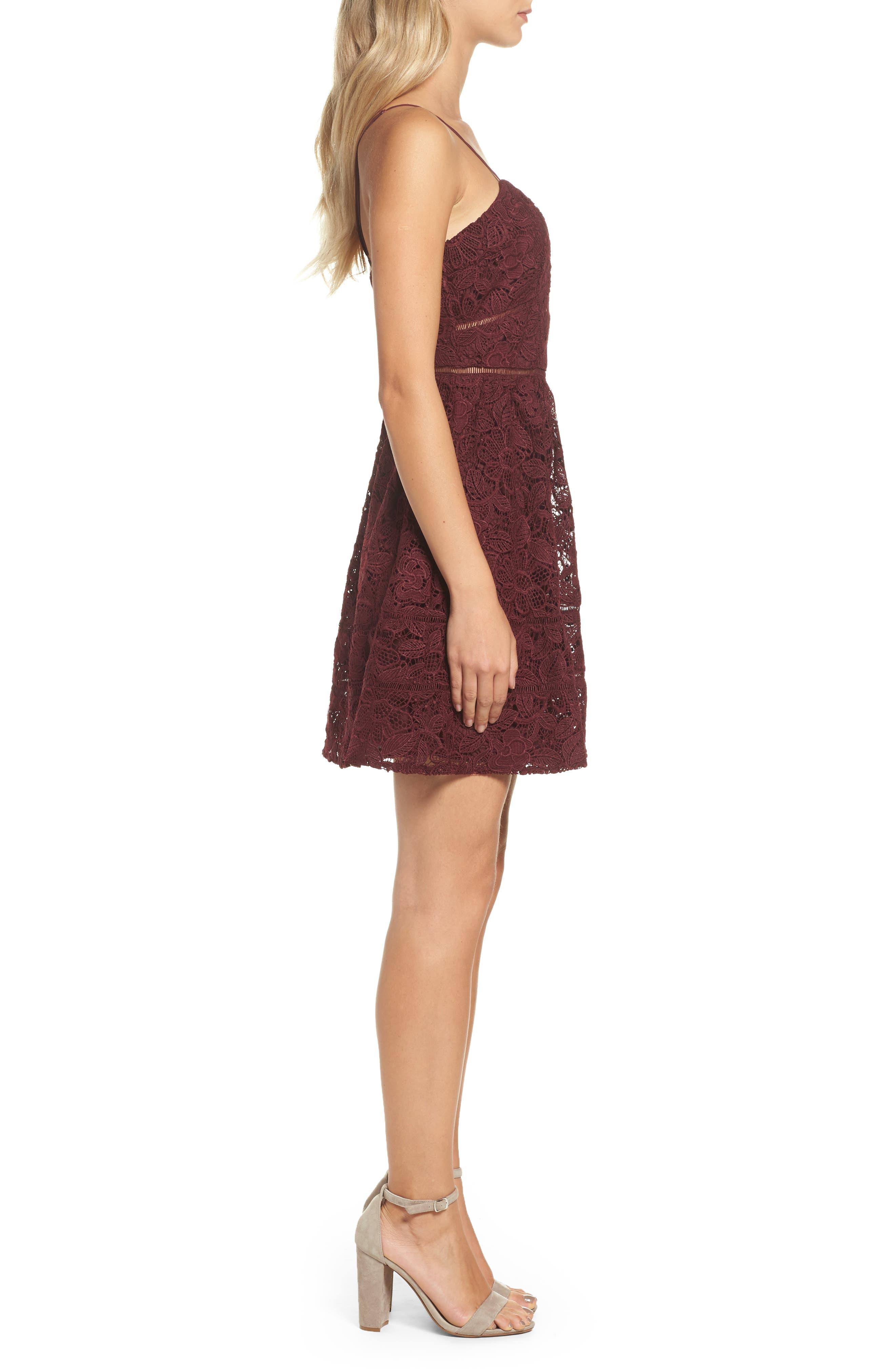 Sutton Lace Fit & Flare Dress,                             Alternate thumbnail 3, color,                             930