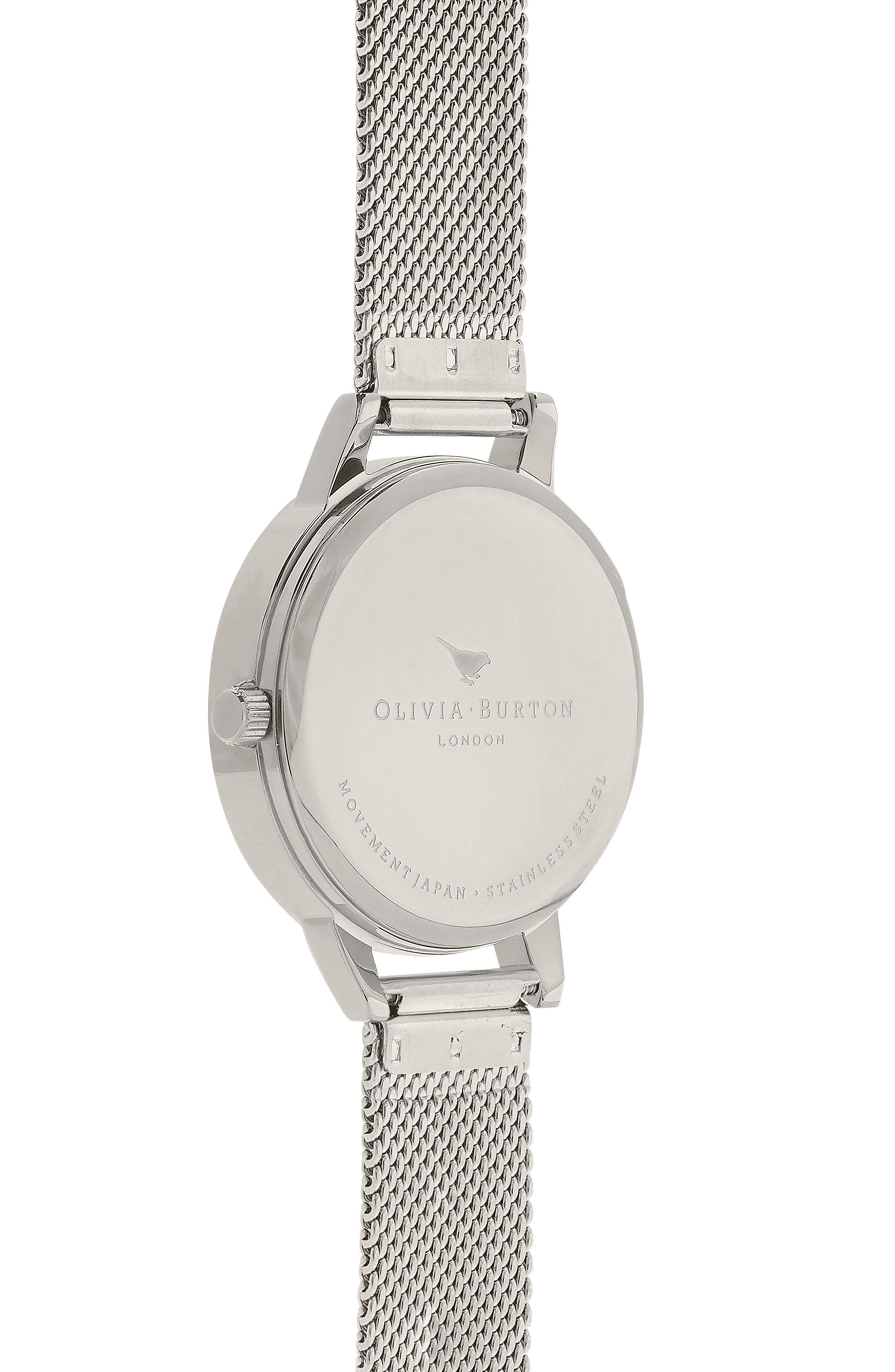 OLIVIA BURTON,                             Sunray Mesh Strap Watch, 30mm,                             Alternate thumbnail 3, color,                             SILVER