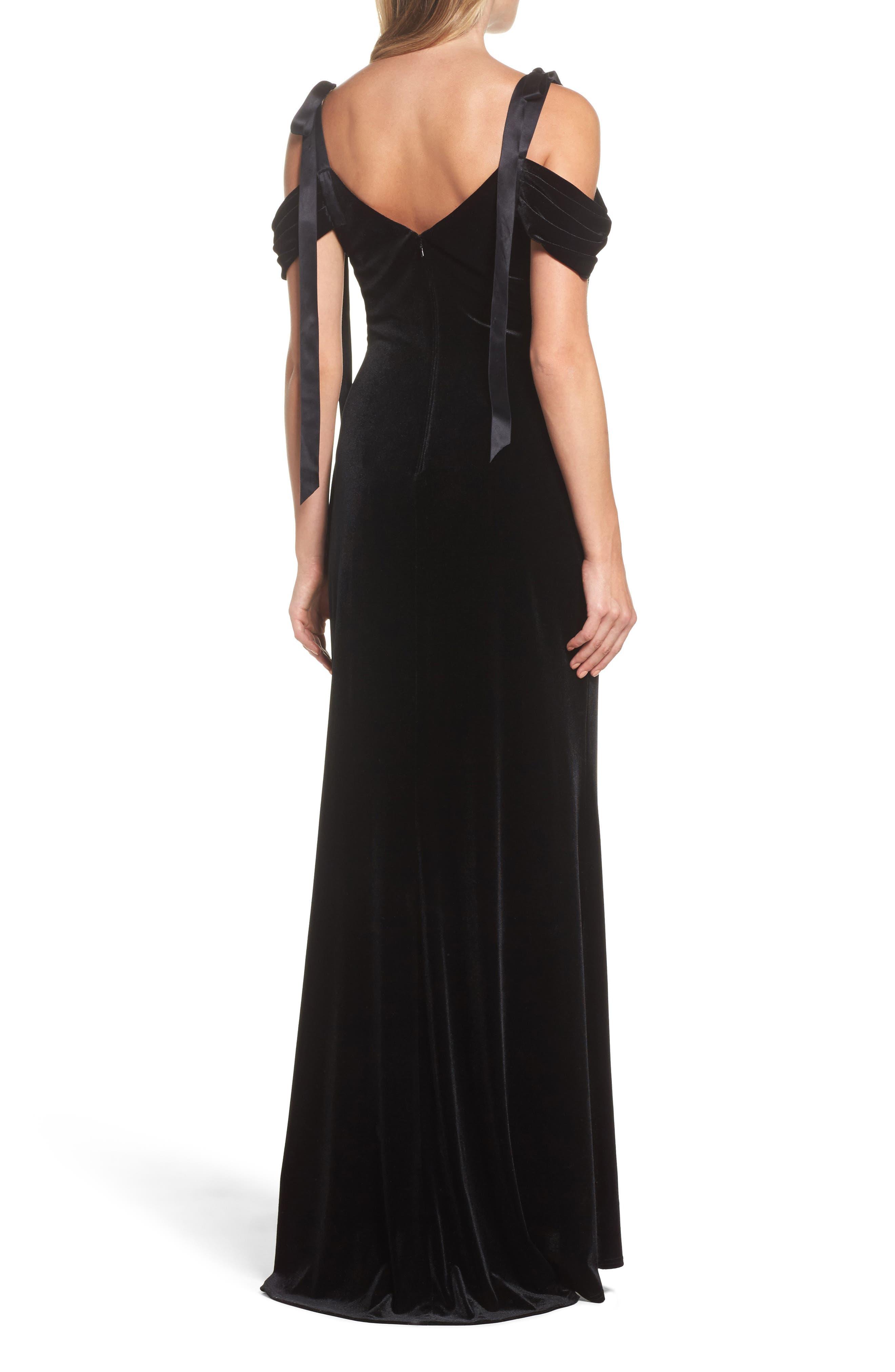 Embroidered Cold Shoulder Velvet Gown,                             Alternate thumbnail 2, color,                             BLACK