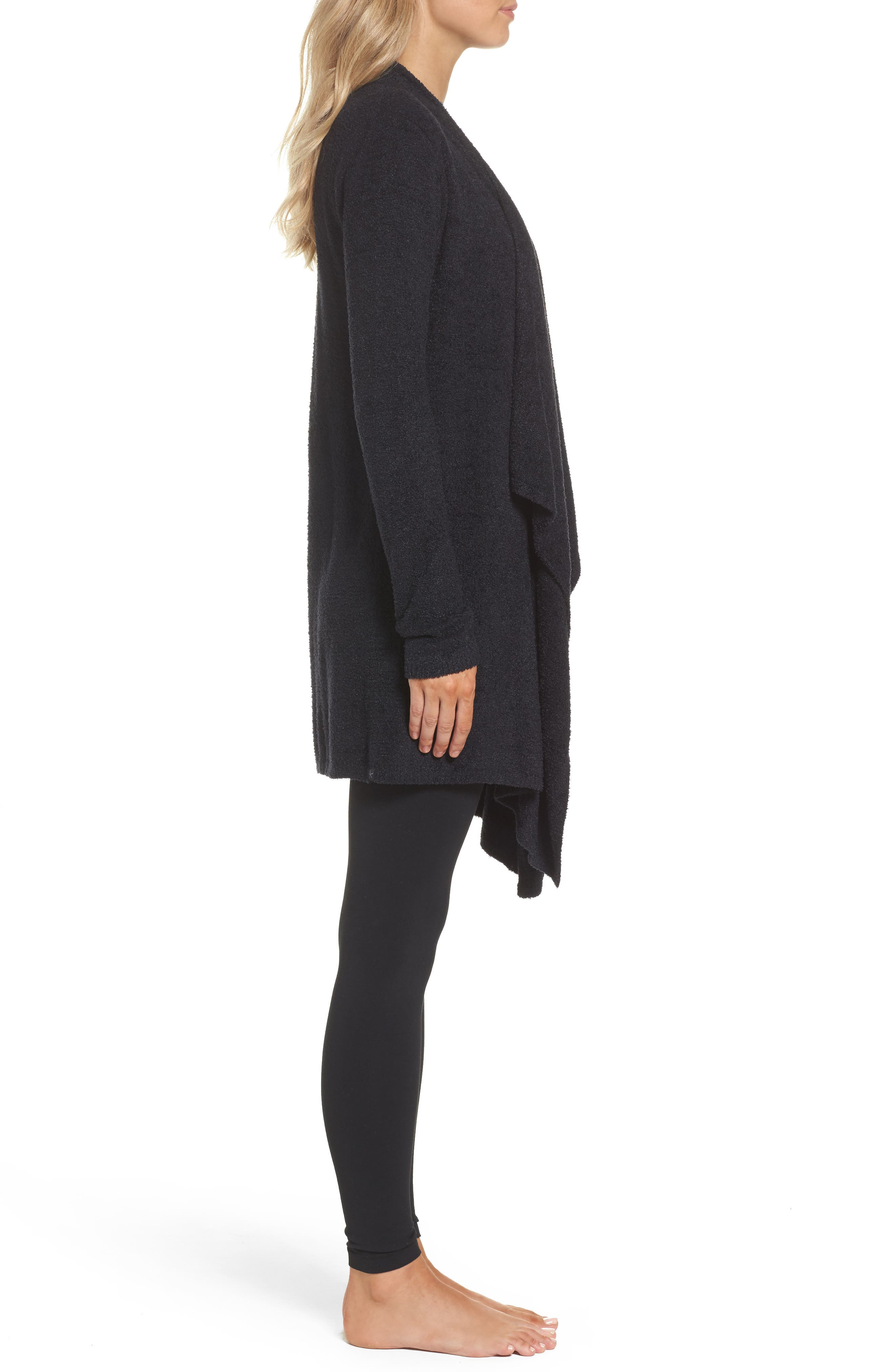 CozyChic Lite<sup>®</sup> Calypso Wrap Cardigan,                             Alternate thumbnail 3, color,                             BLACK