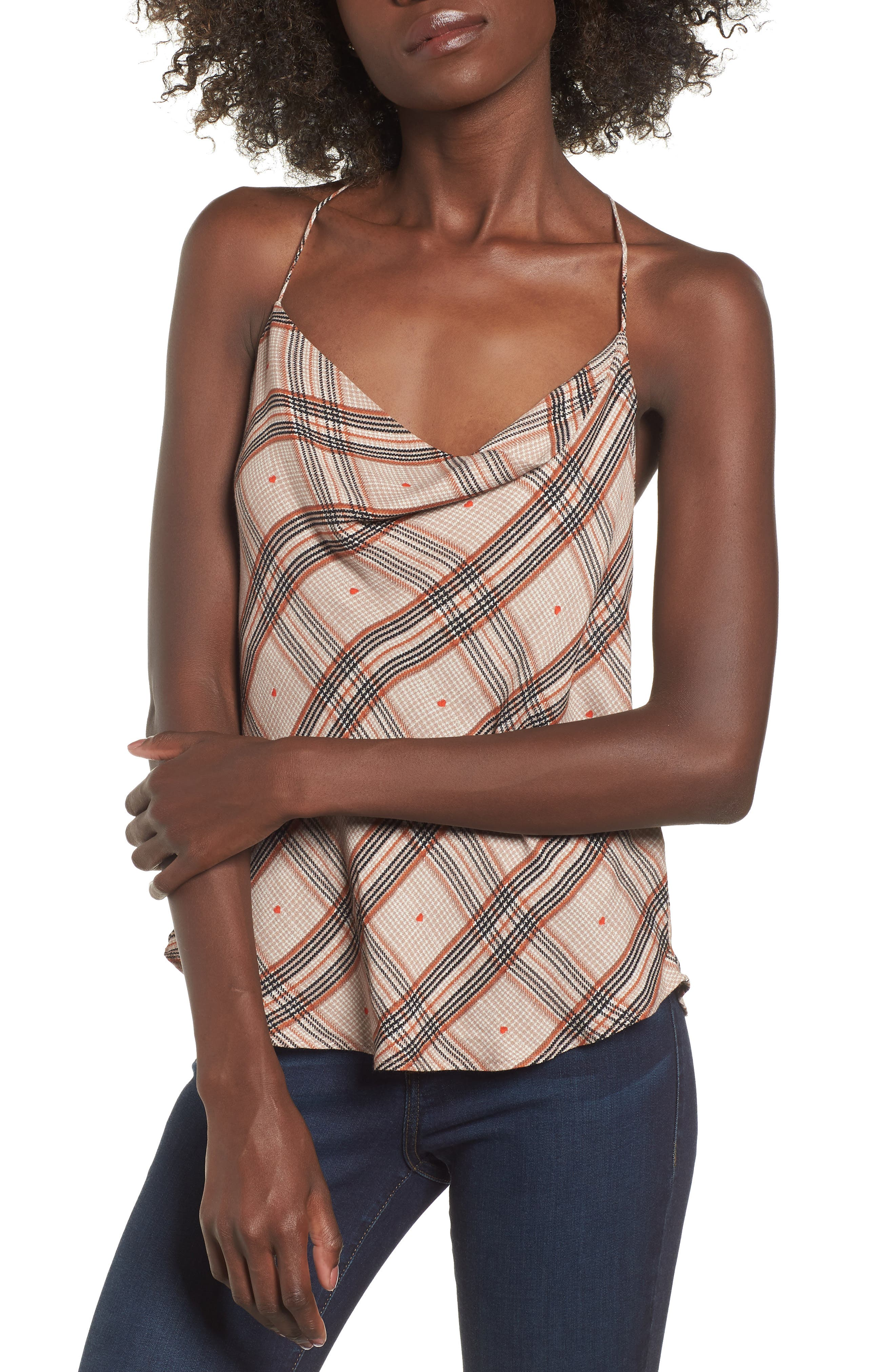 Finn T-Back Camisole,                             Main thumbnail 1, color,                             PLAID WITH HEART