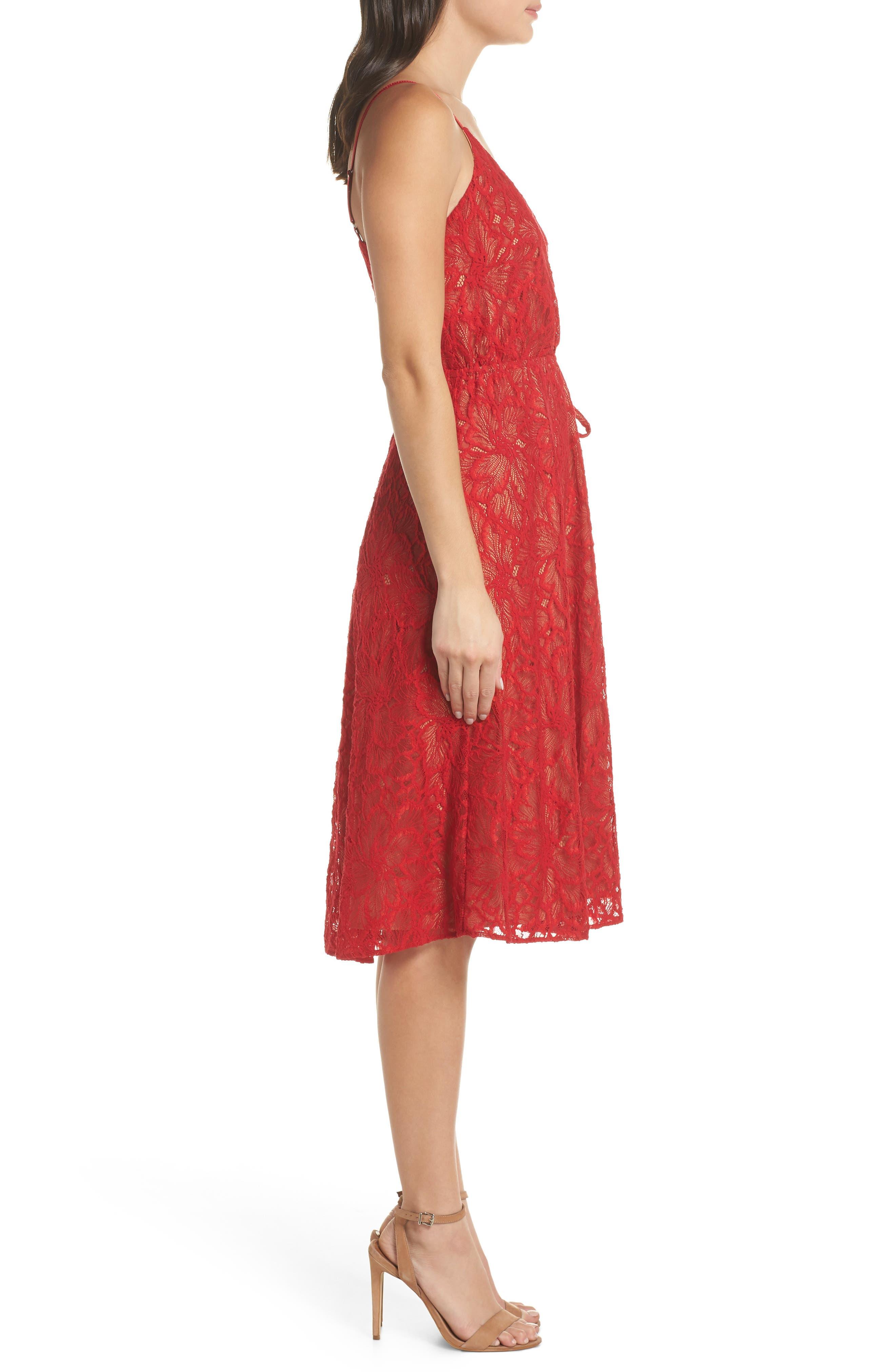 ALI & JAY,                             Cheek to Cheek Lace Midi Dress,                             Alternate thumbnail 4, color,                             SCARLET