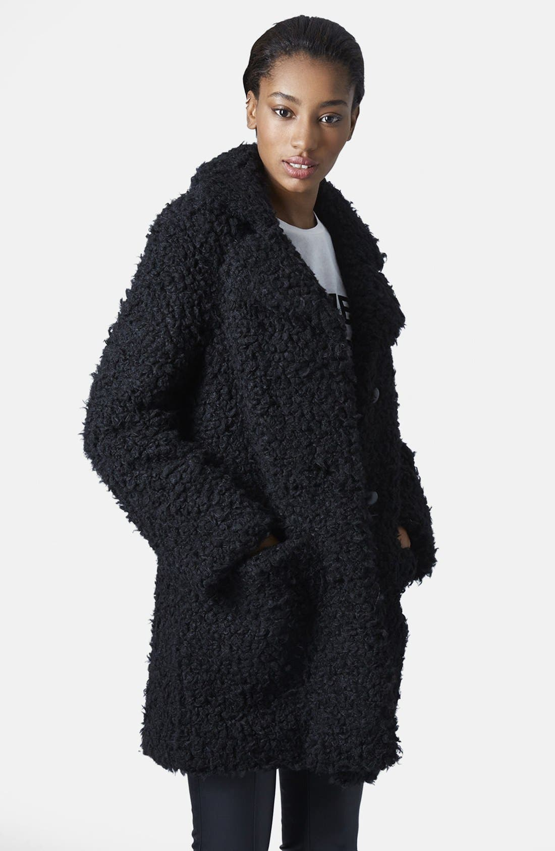 Faux Fur Car Coat,                             Main thumbnail 1, color,                             001