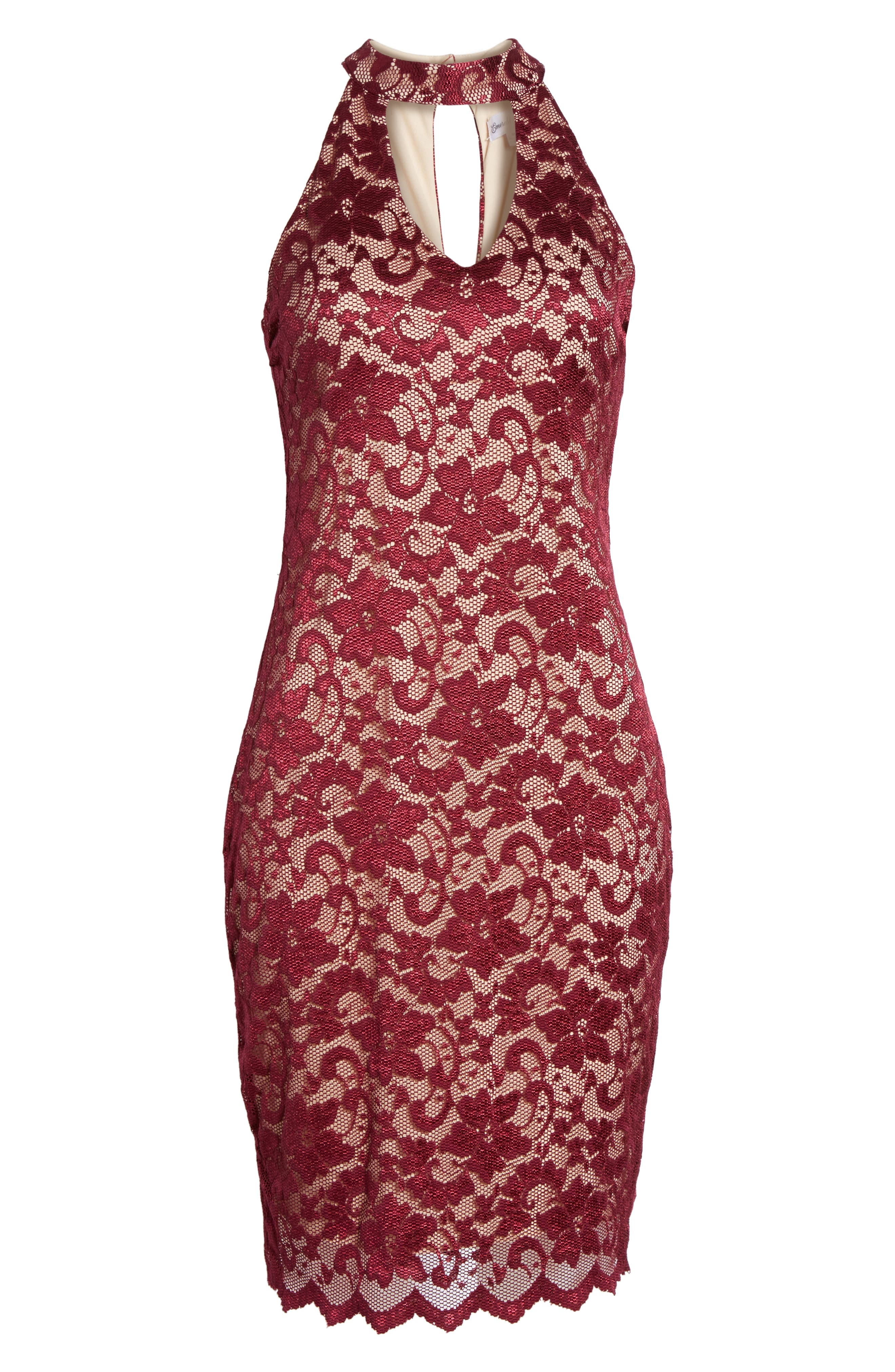 Love Nickie Lew Lace Choker Body Con Dress,                             Alternate thumbnail 6, color,                             930