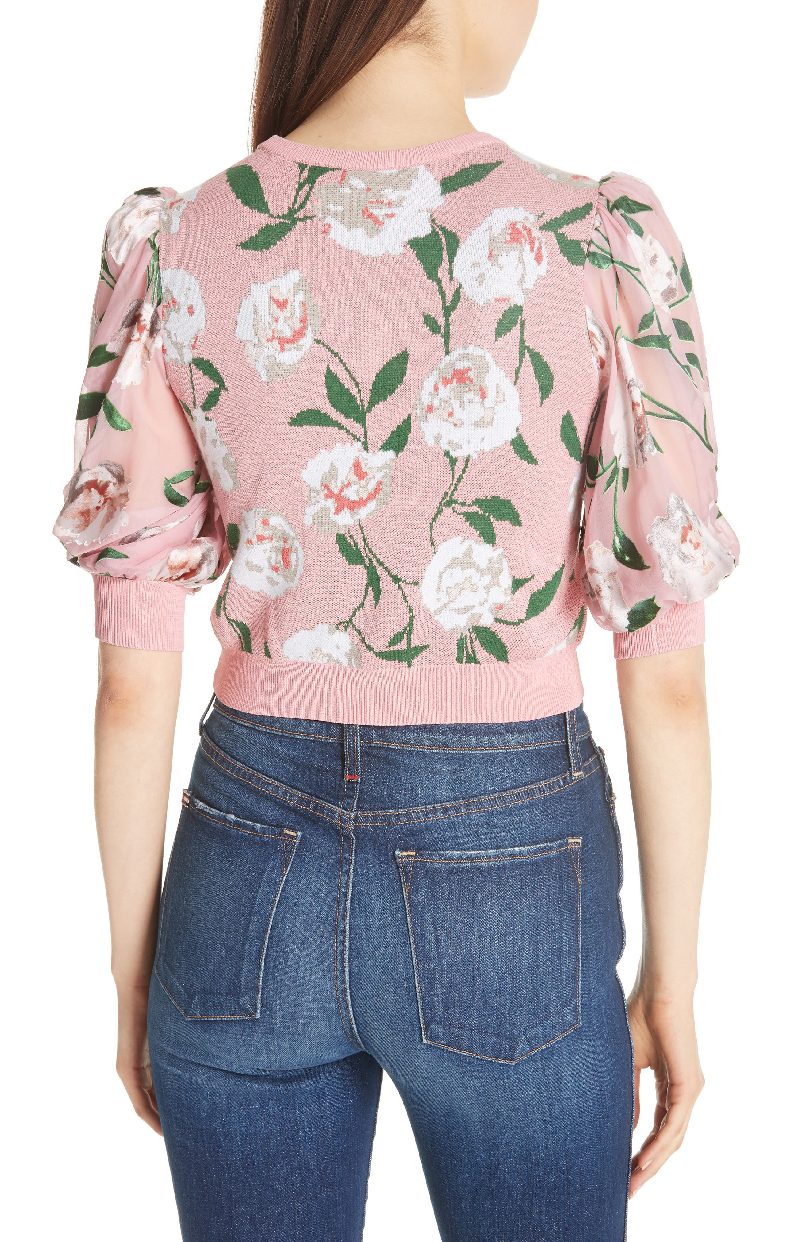 Brandy Floral Puff Crop Sweater,                             Alternate thumbnail 2, color,                             679