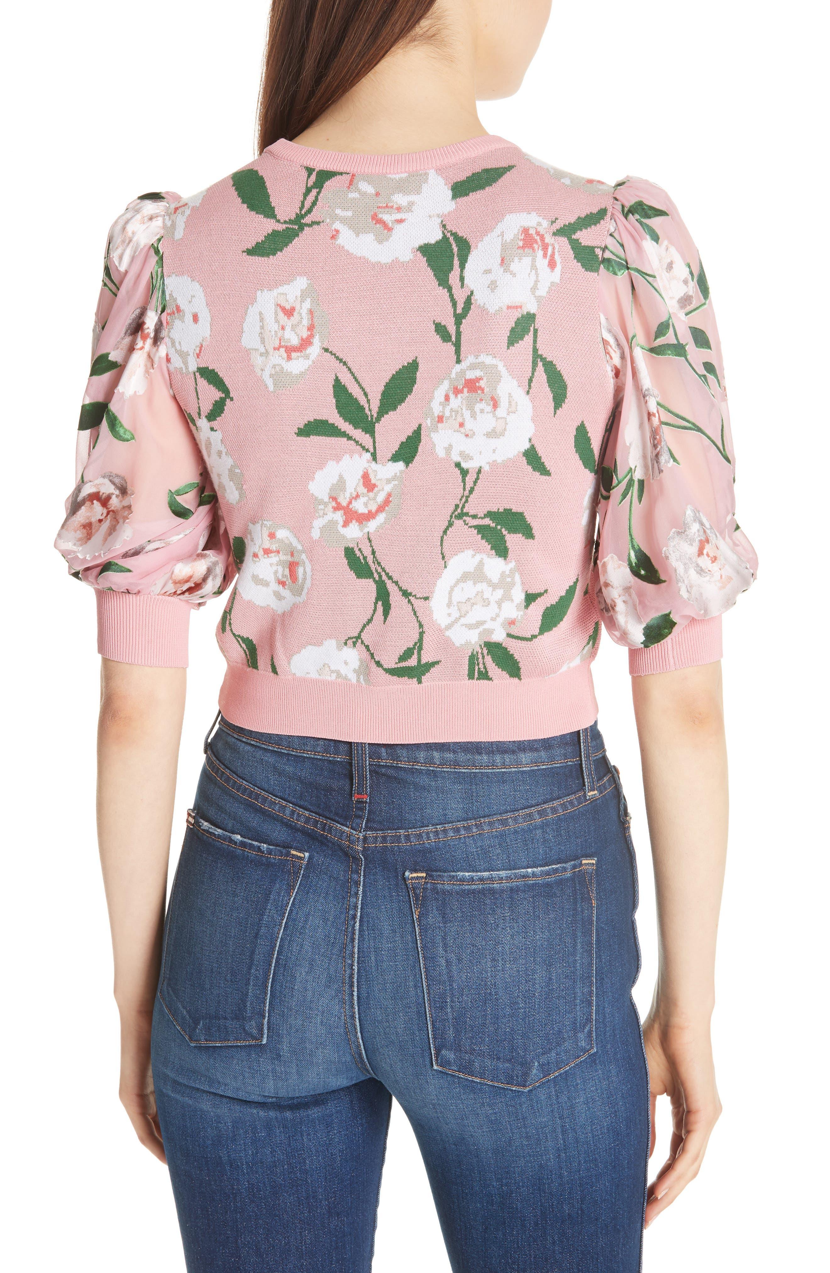 Brandy Floral Puff Crop Sweater,                             Alternate thumbnail 2, color,                             PEONY GARDEN WALL/ BUBBLEGUM