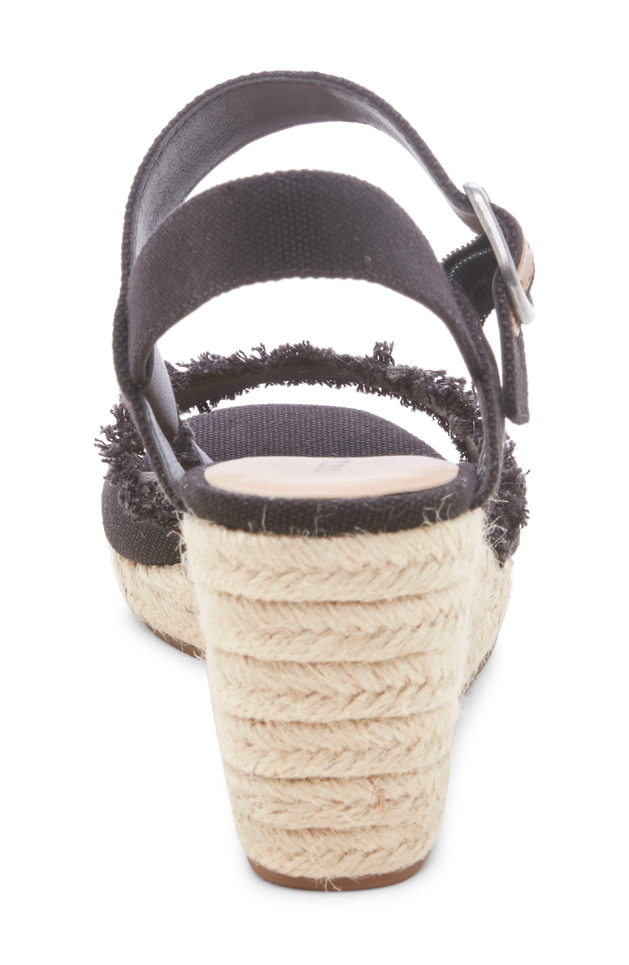 LUCKY BRAND,                             Mindra Espadrille Wedge Sandal,                             Alternate thumbnail 7, color,                             BLACK FABRIC