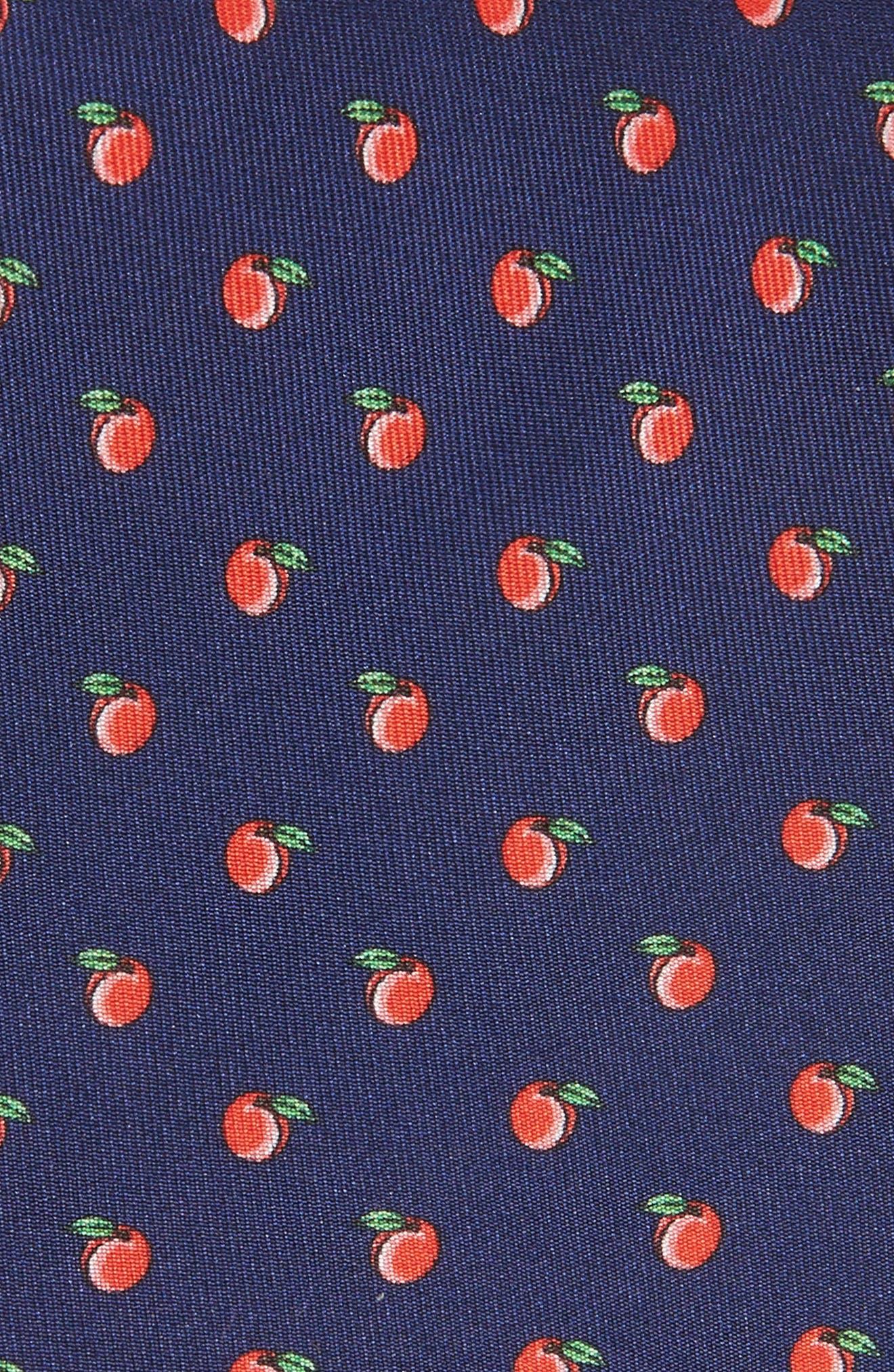 Peach Toss Print Silk Tie,                             Alternate thumbnail 2, color,                             800
