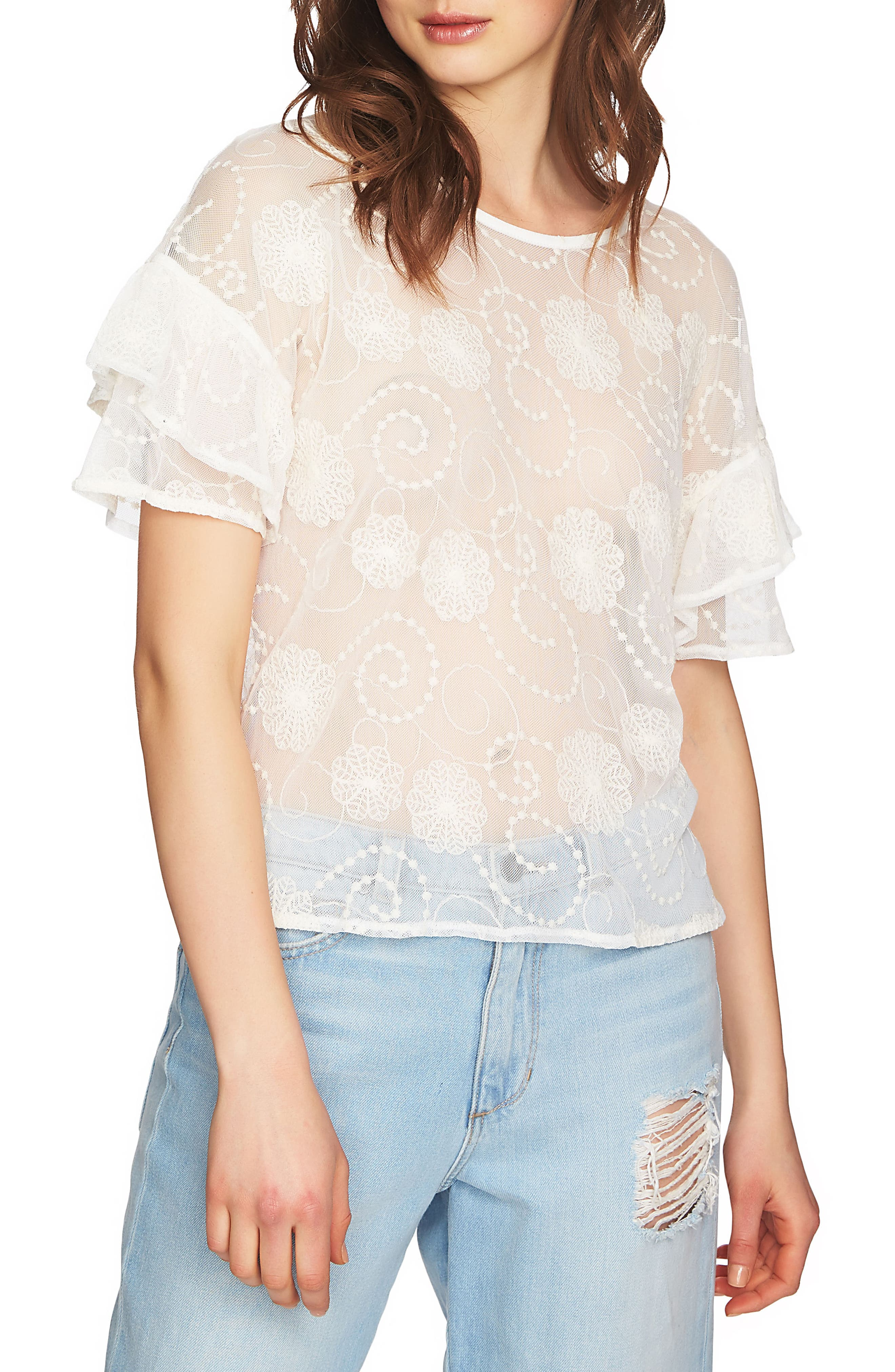 Embroidered Ruffle Sleeve Top,                             Alternate thumbnail 7, color,