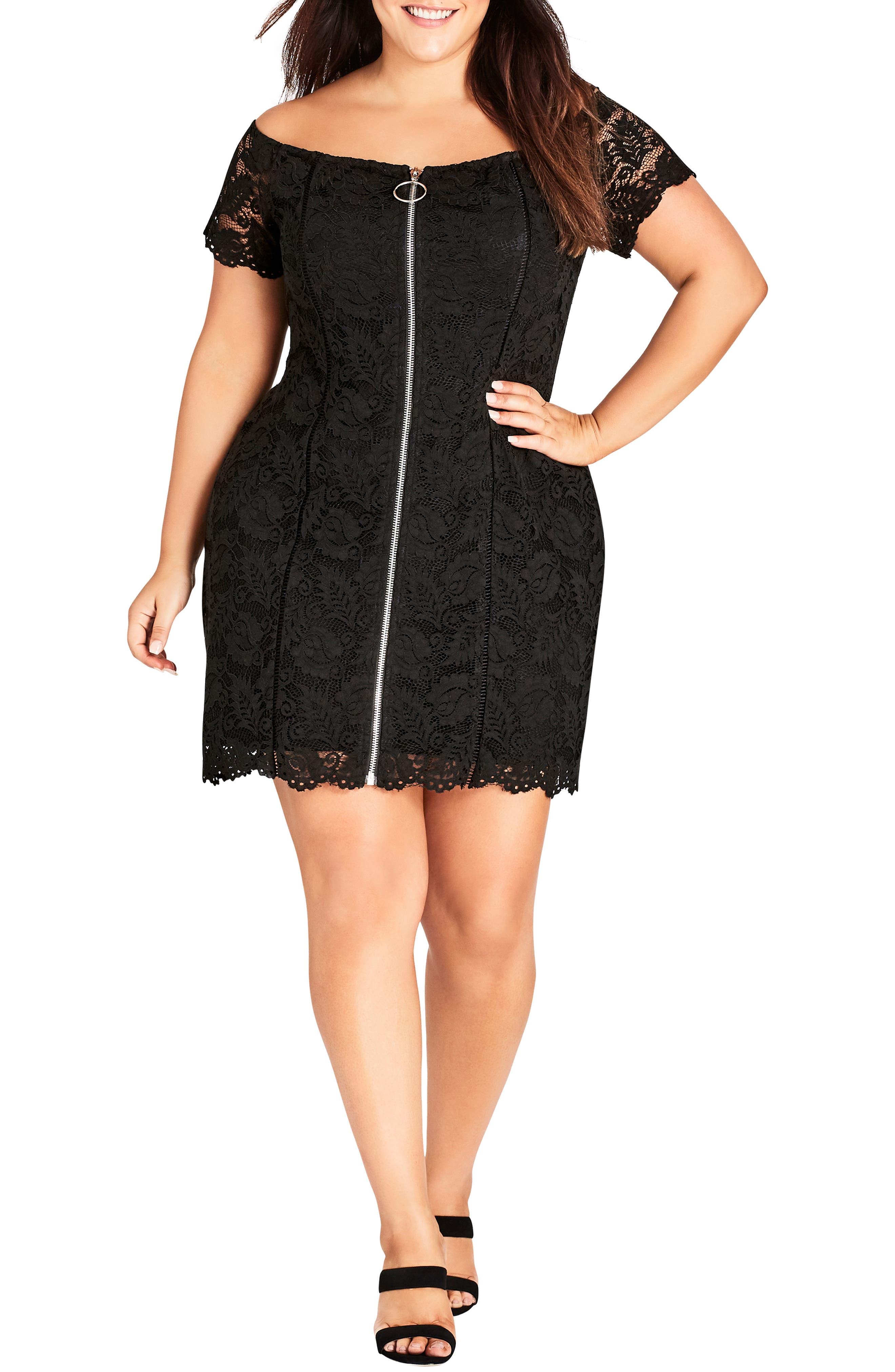 Special Zip Lace Dress, Main, color, BLACK