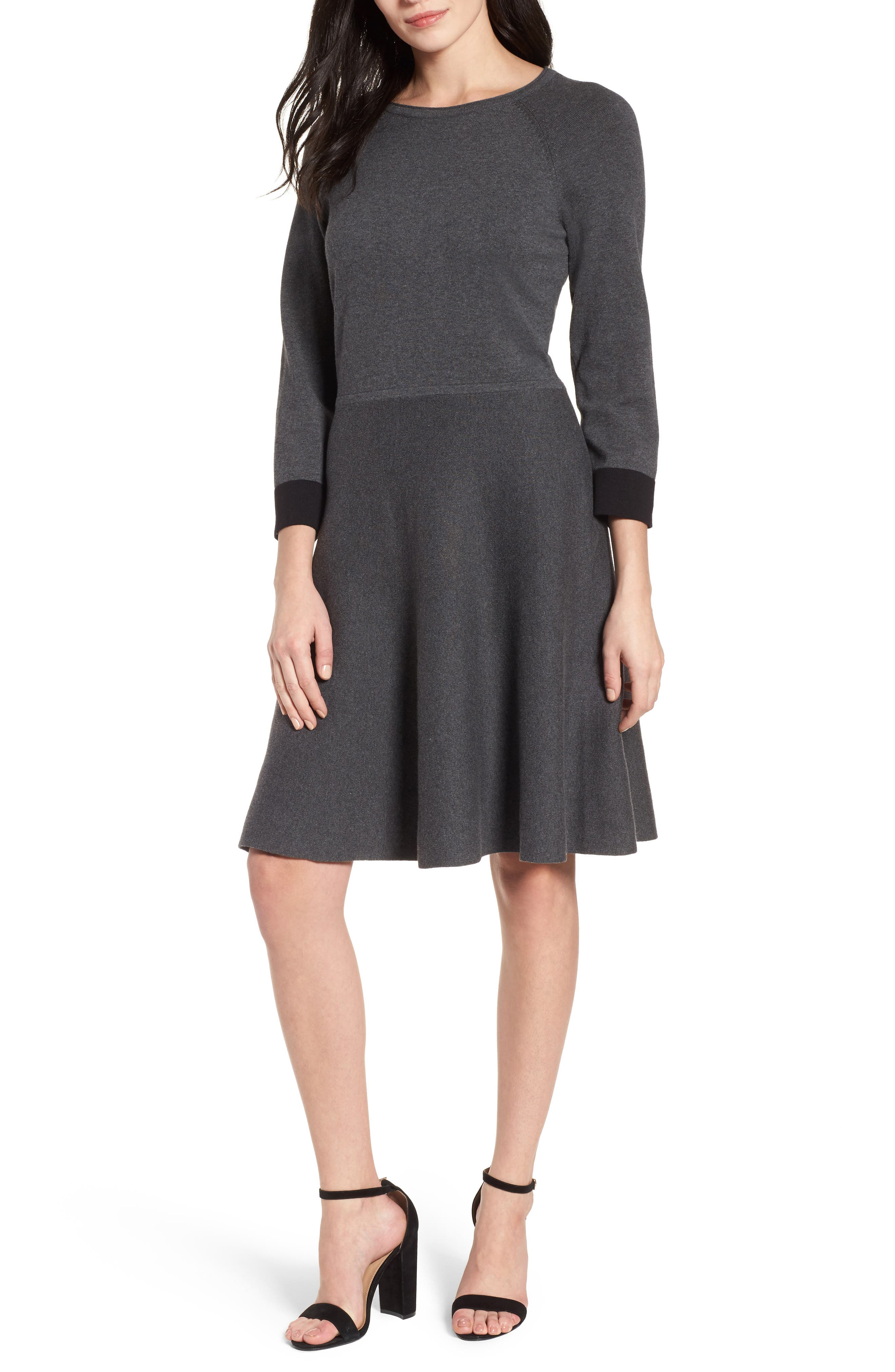 Fit & Flare Sweater Dress,                             Main thumbnail 1, color,                             023