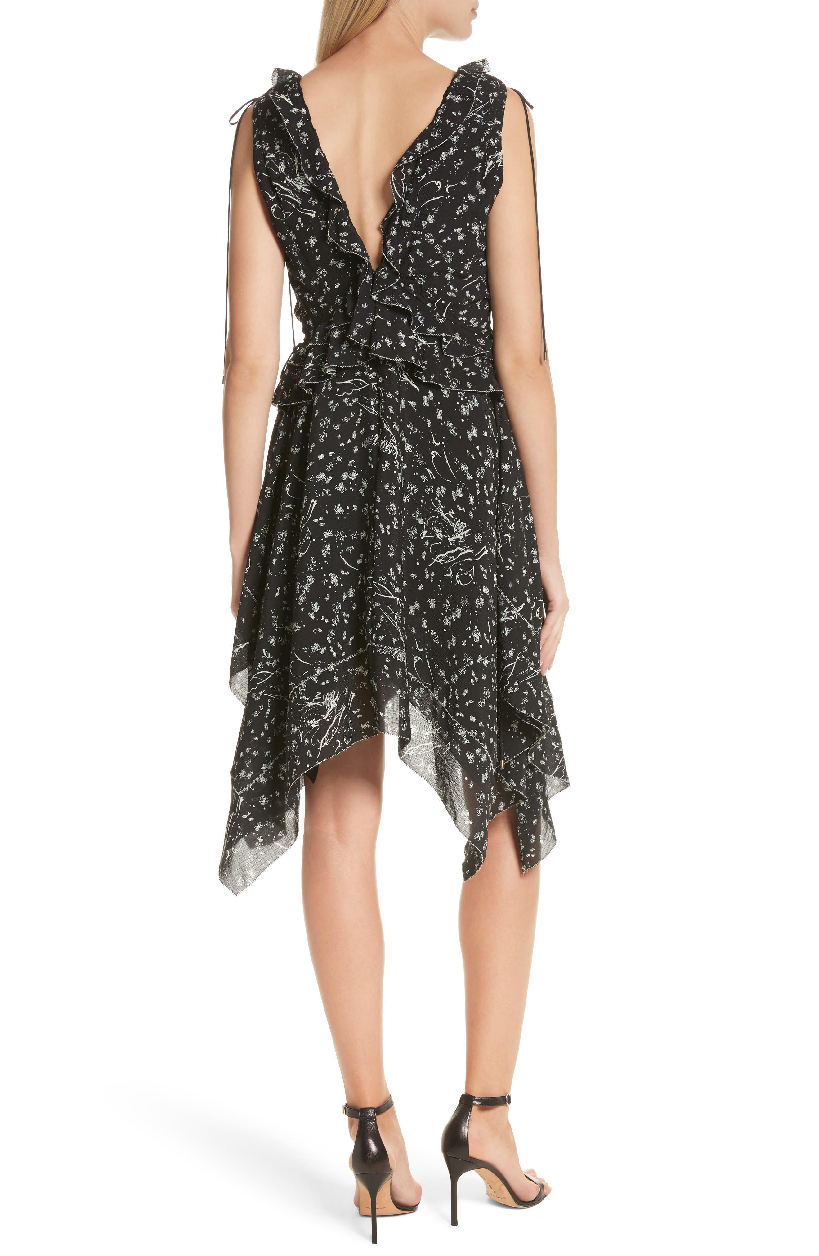 Ruffle Trim Handkerchief Hem Silk Dress,                             Alternate thumbnail 2, color,                             001