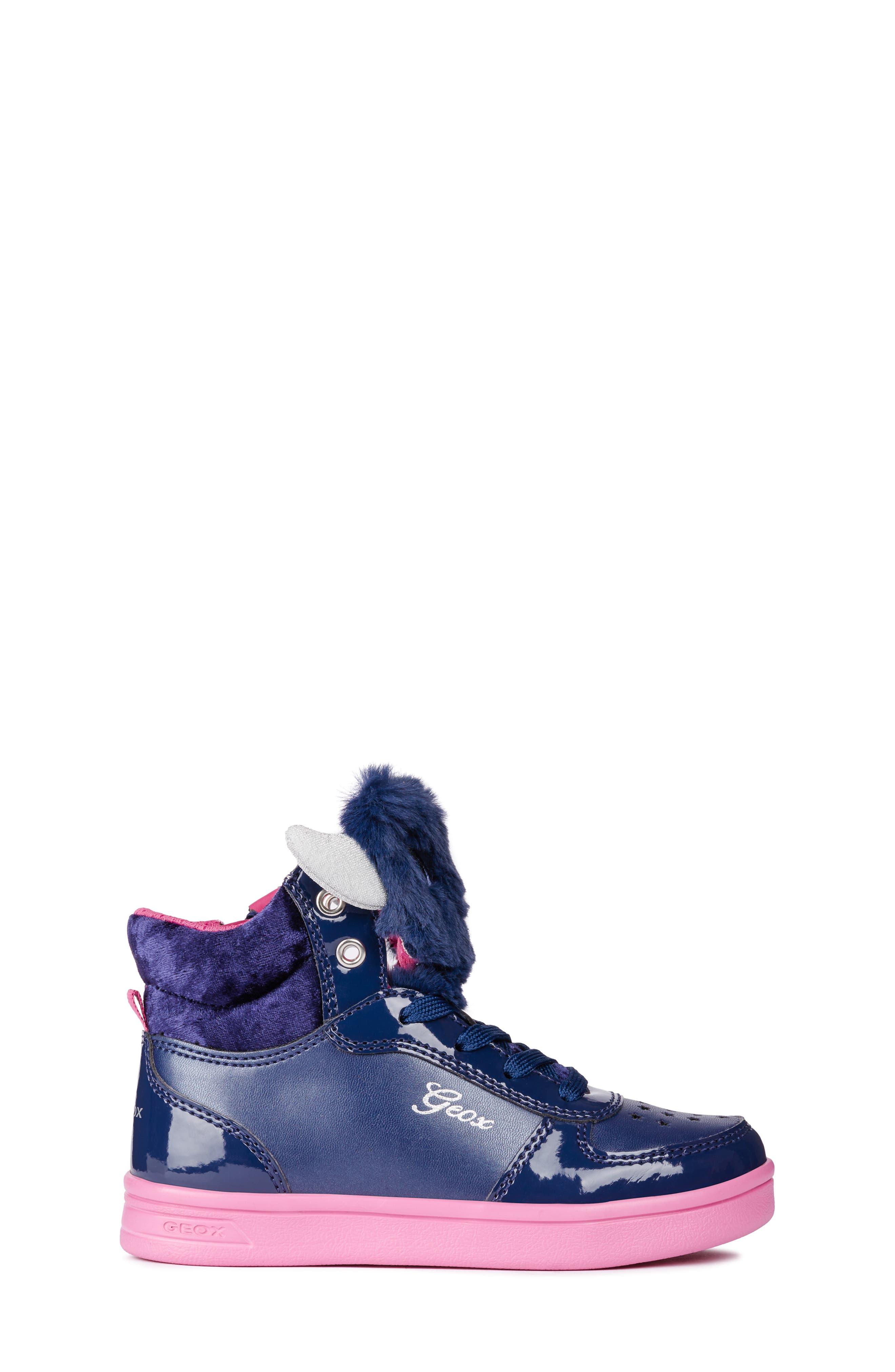 DJ Rock Fuzzy Friend Sneaker,                             Alternate thumbnail 3, color,                             NAVY/FUCHSIA