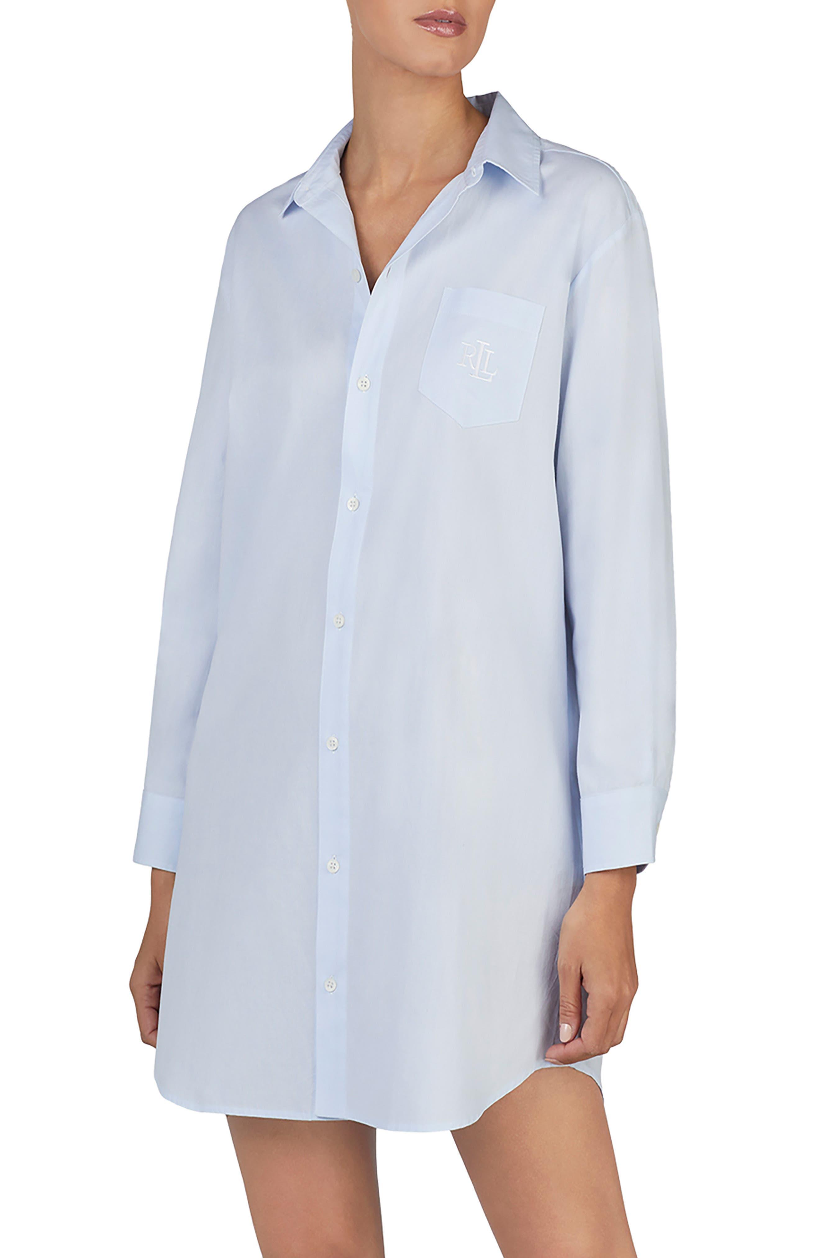 Lauren Ralph Lauren Cotton Sleep Shirt, Blue