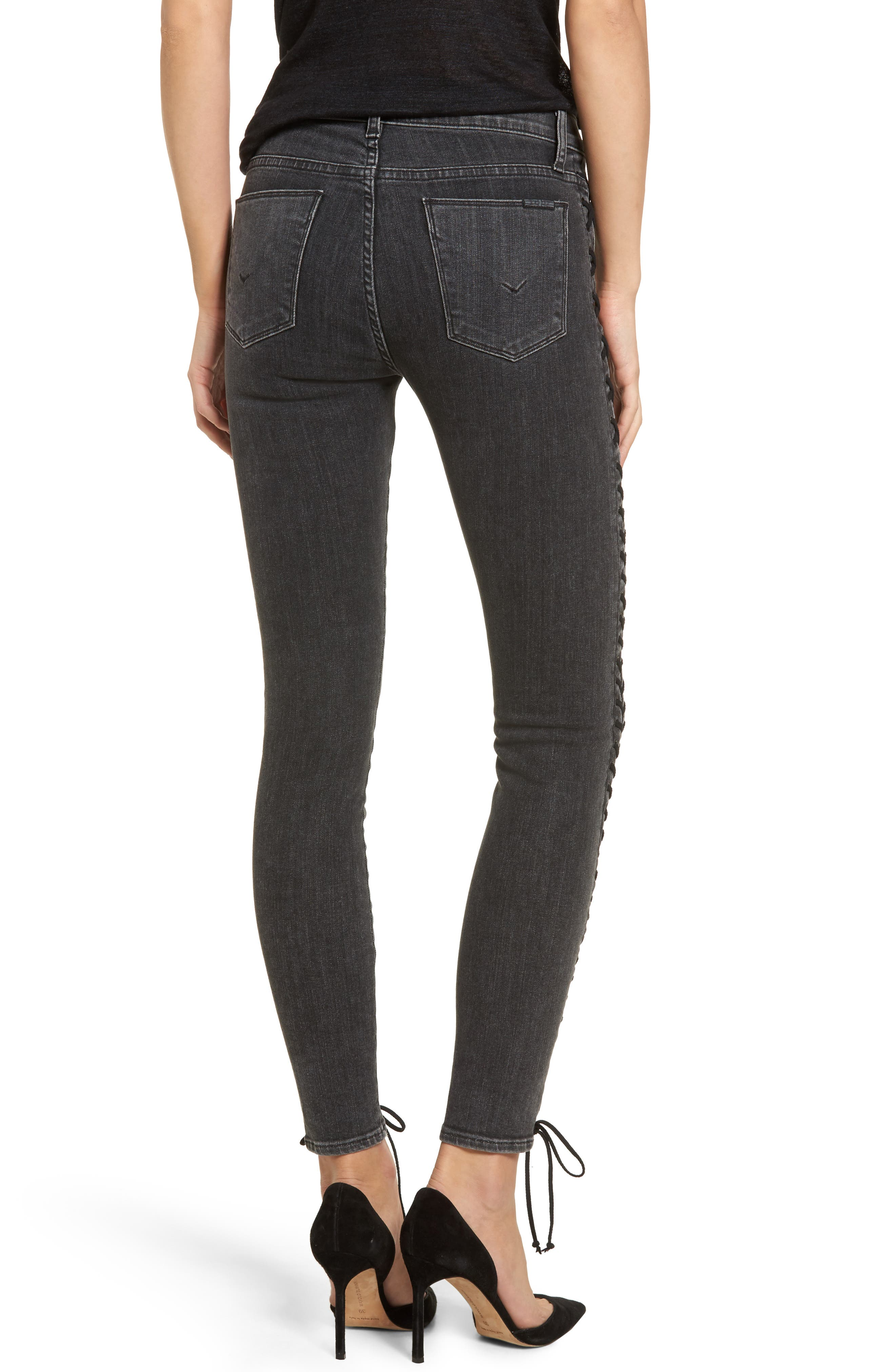 Stevie Lace-Up Skinny Jeans,                             Alternate thumbnail 2, color,