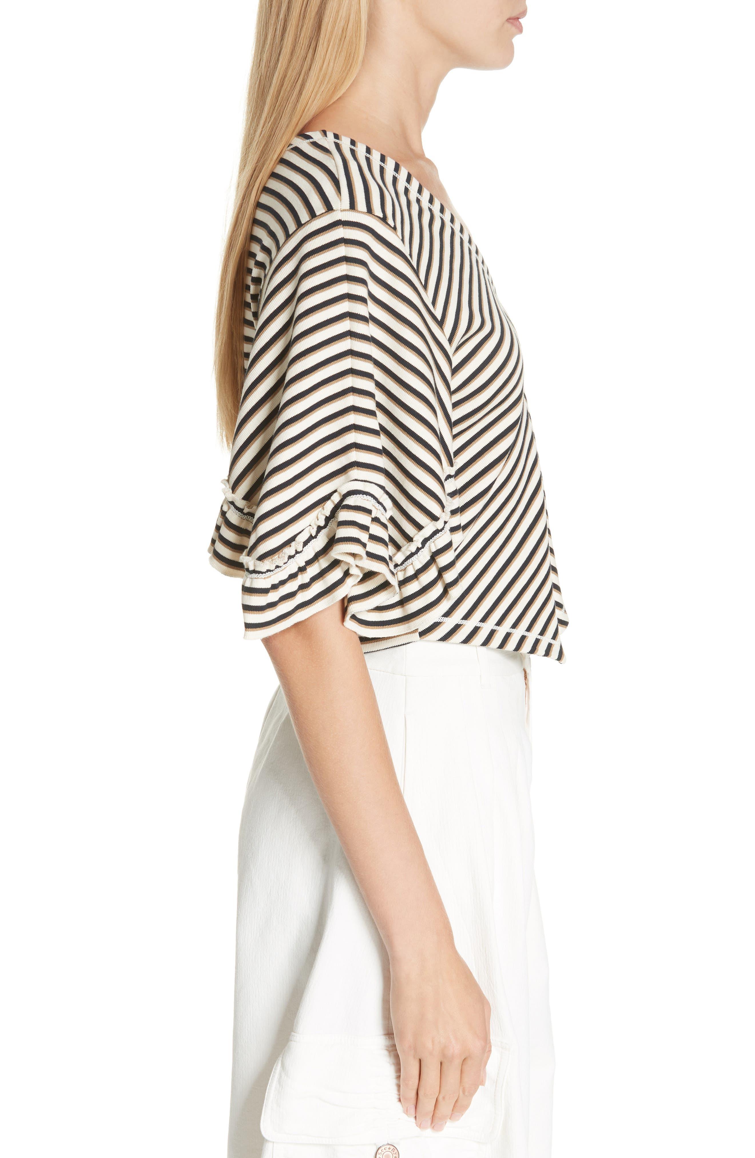 Stripe Top,                             Alternate thumbnail 3, color,                             WHITE - BEIGE 1