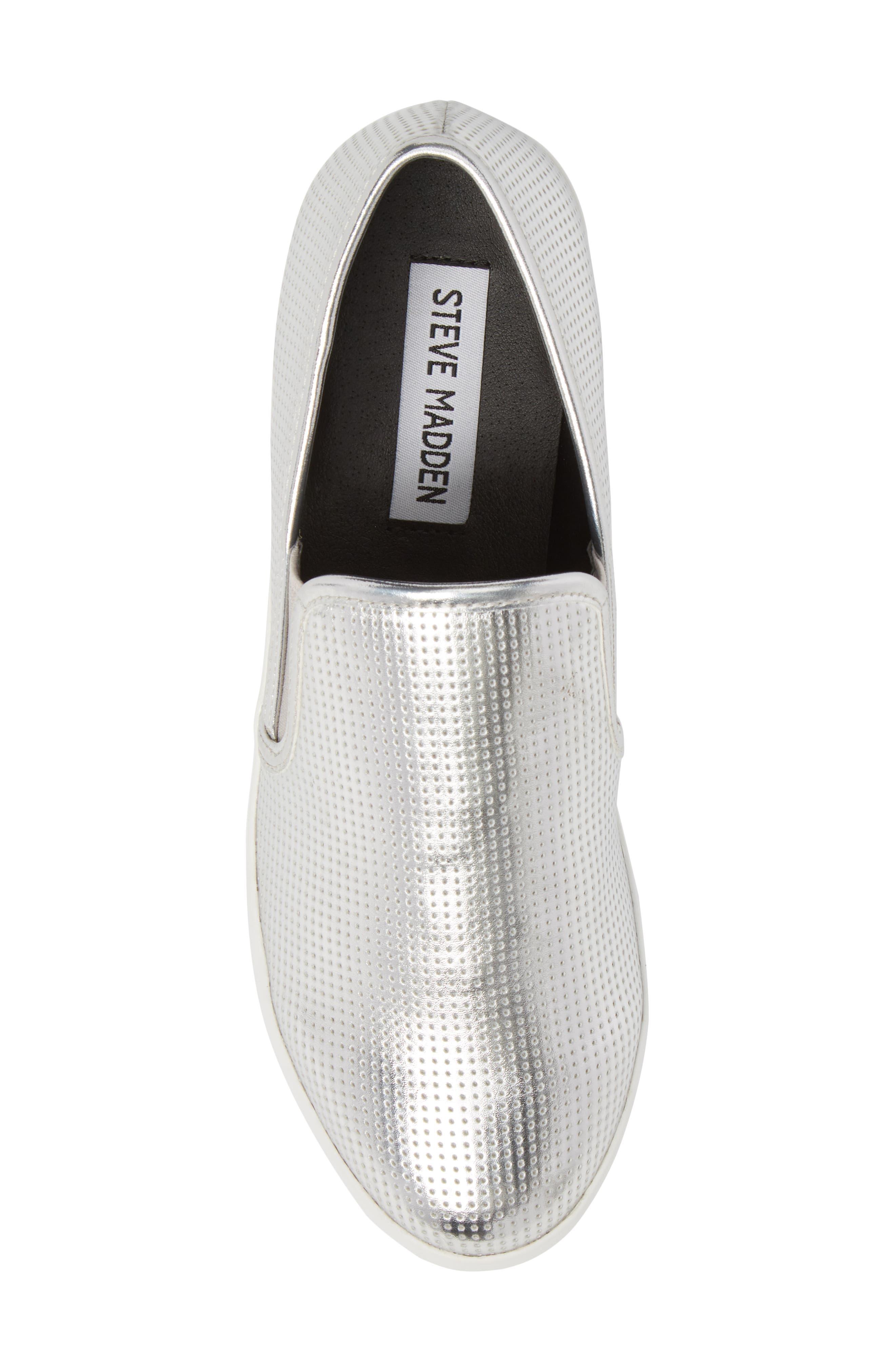 Becca Slip-On Sneaker,                             Alternate thumbnail 5, color,                             SILVER