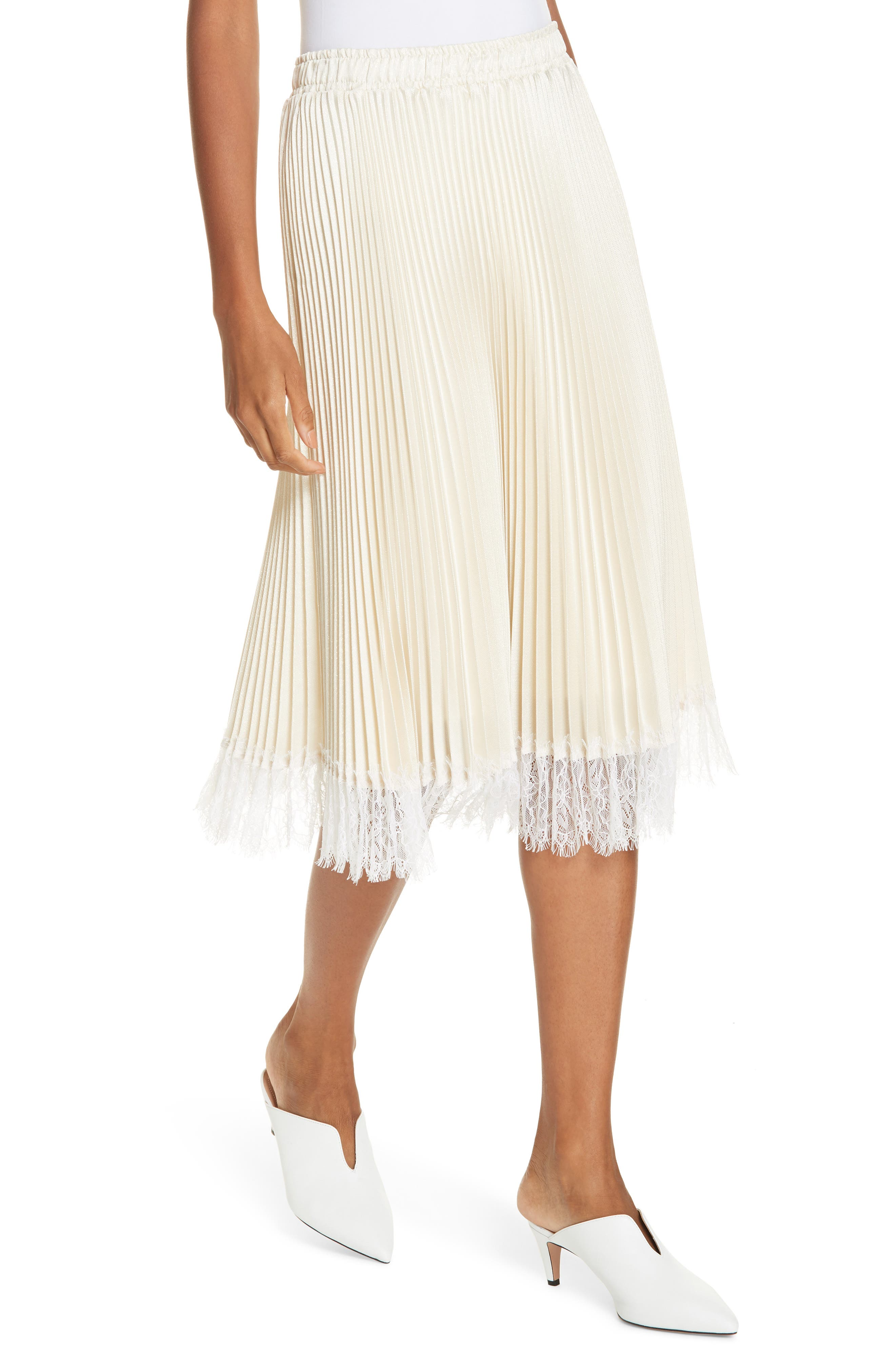 Pleated Metallic Lace Trim Skirt,                             Alternate thumbnail 4, color,                             CHAMPAGNE