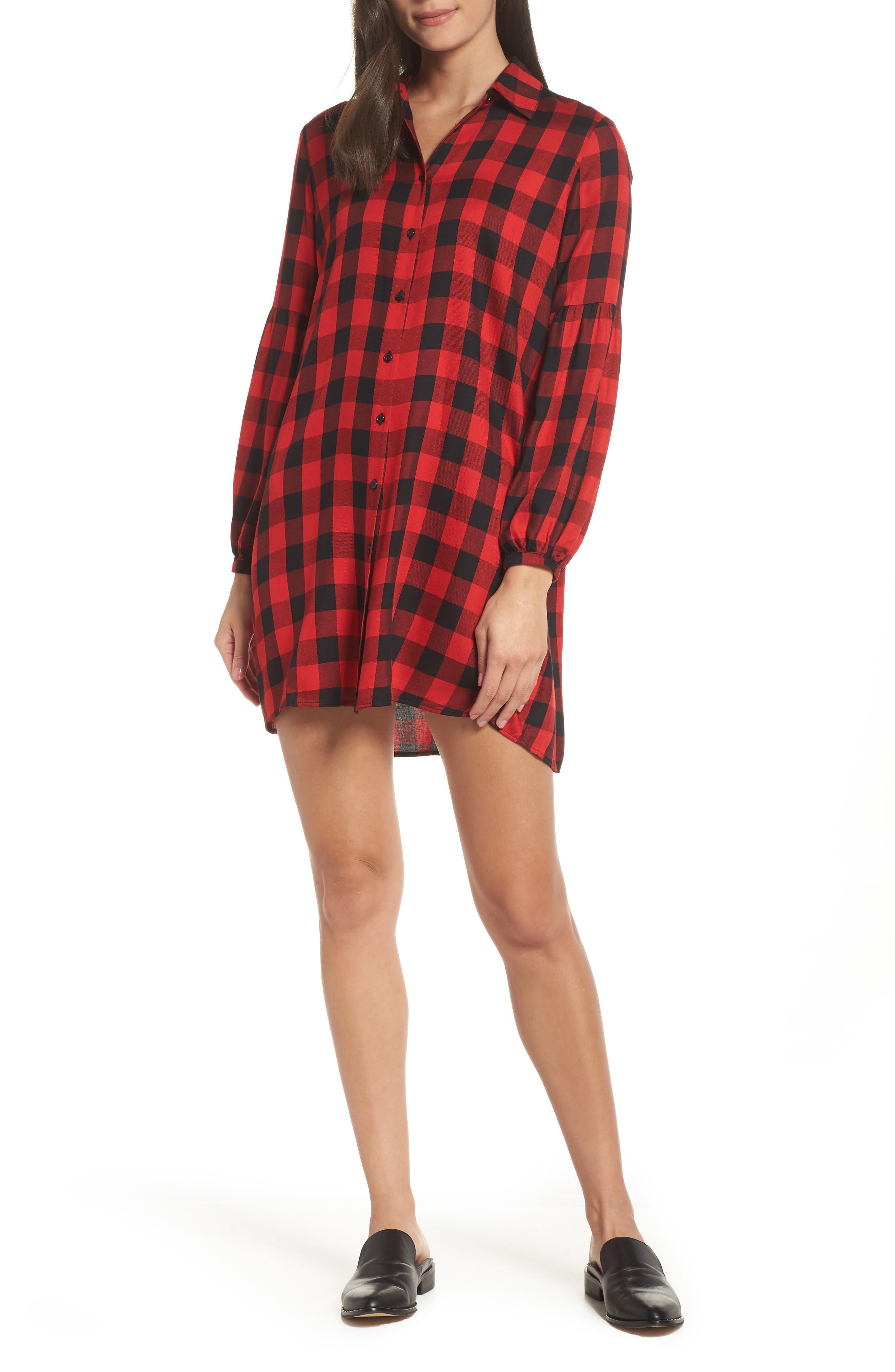 Buffalo Plaid Shirtdress,                             Main thumbnail 1, color,                             BRIGHT RED