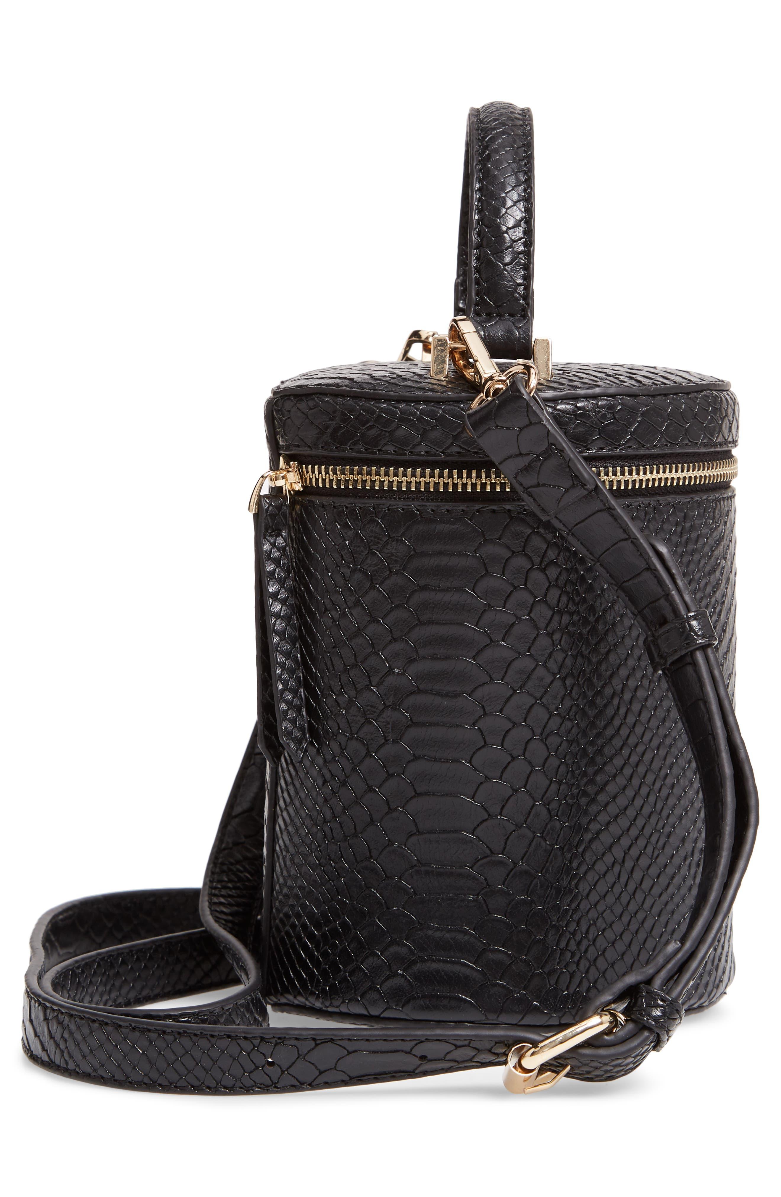 Marion Snake Embossed Bucket Bag,                             Alternate thumbnail 5, color,                             001