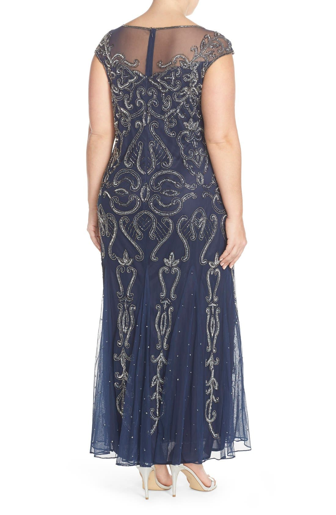 Illusion Neck Beaded A-Line Gown,                             Alternate thumbnail 7, color,