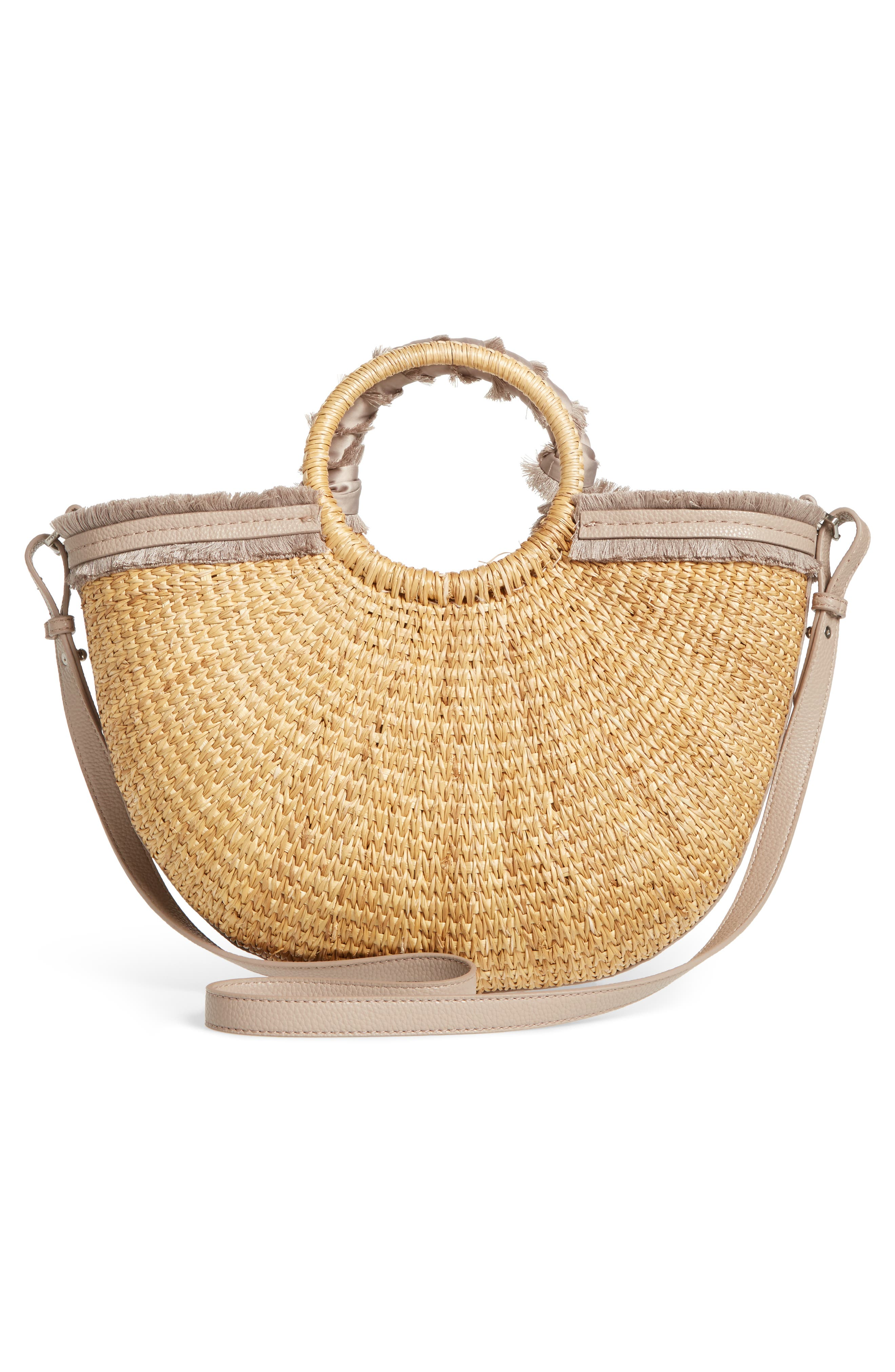 Idina Feather Straw Tote,                             Alternate thumbnail 3, color,