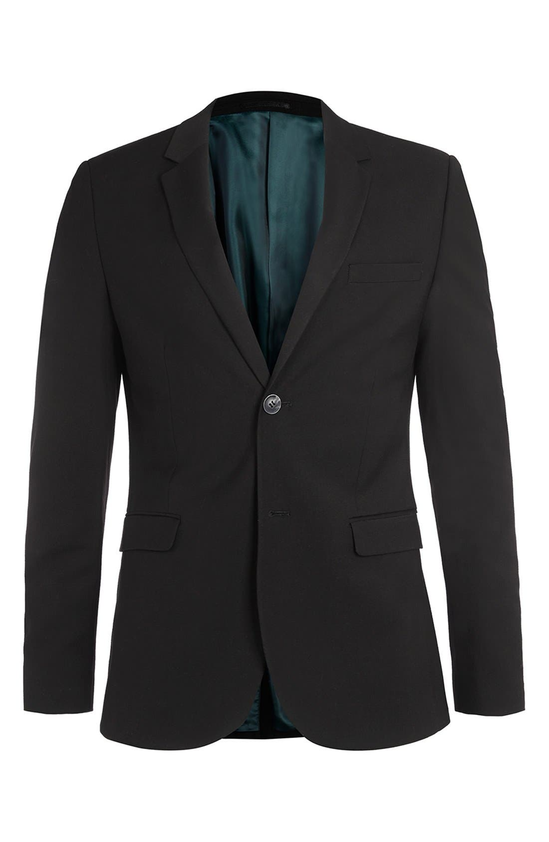 Ultra Skinny Black Suit Jacket,                             Alternate thumbnail 11, color,                             BLACK