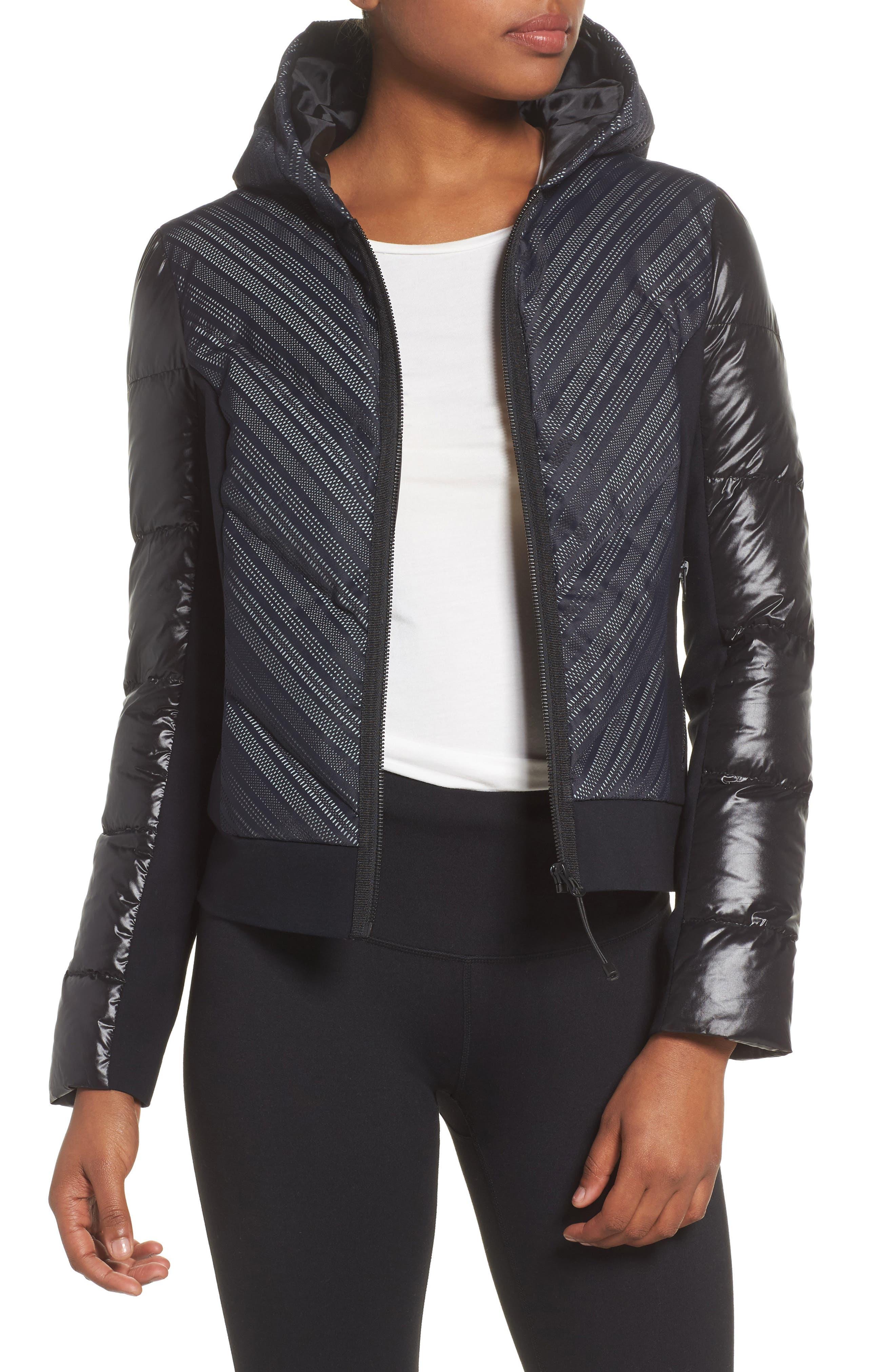 Chevron Reflective Puffer Jacket,                         Main,                         color, 001