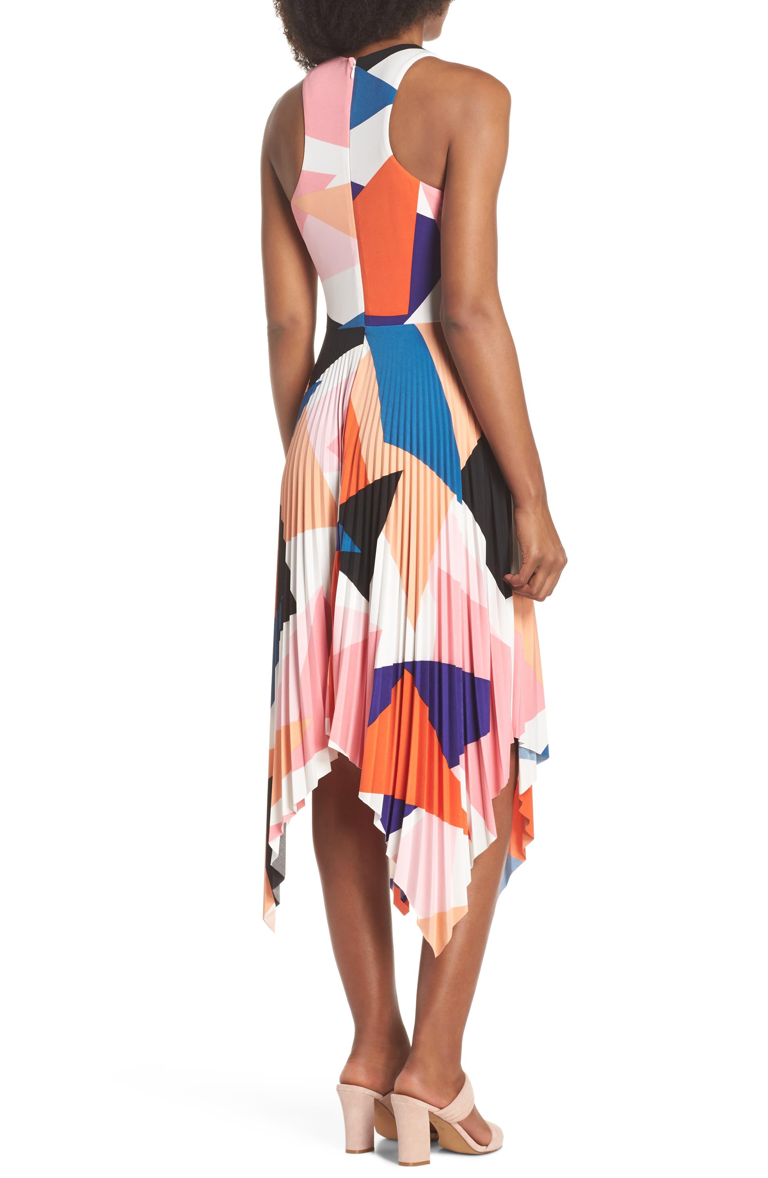 Print Handkerchief Hem Midi Dress,                             Alternate thumbnail 2, color,                             650
