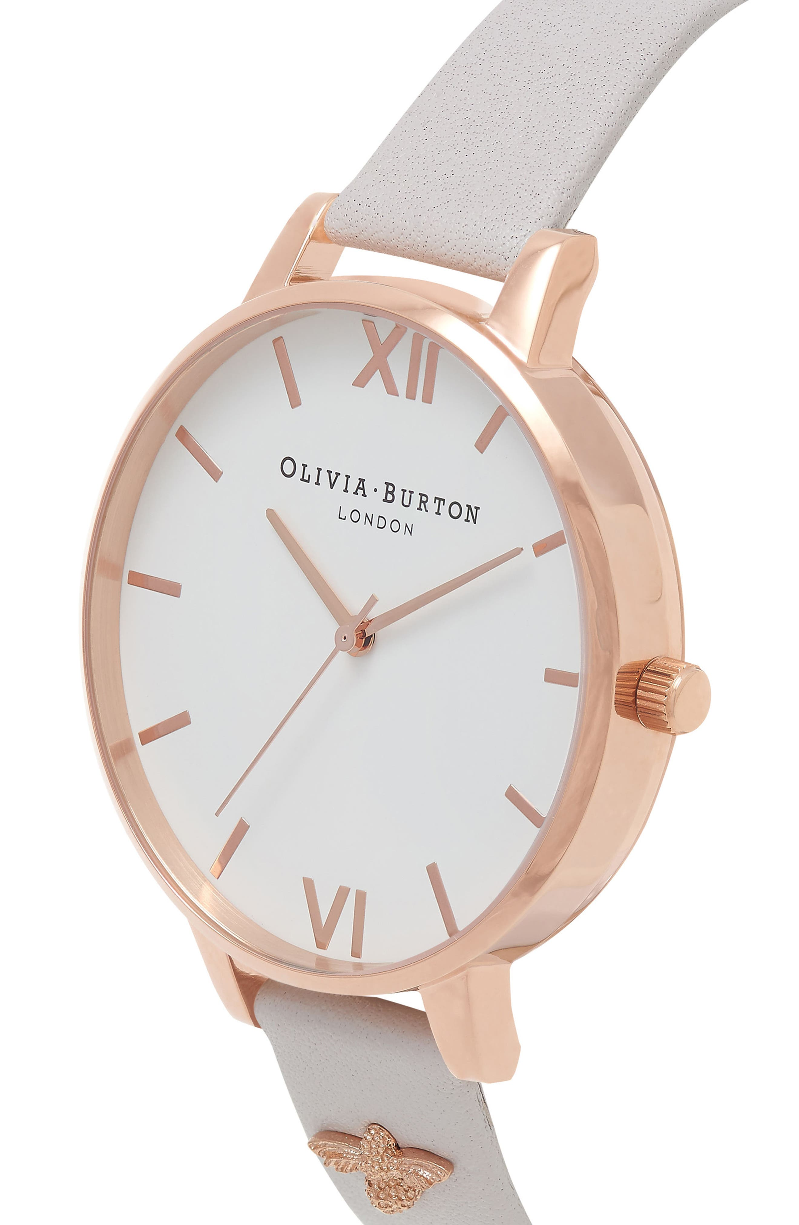3D Bee Leather Strap Watch, 38mm,                             Alternate thumbnail 5, color,                             BLUSH/ WHITE/ ROSE GOLD