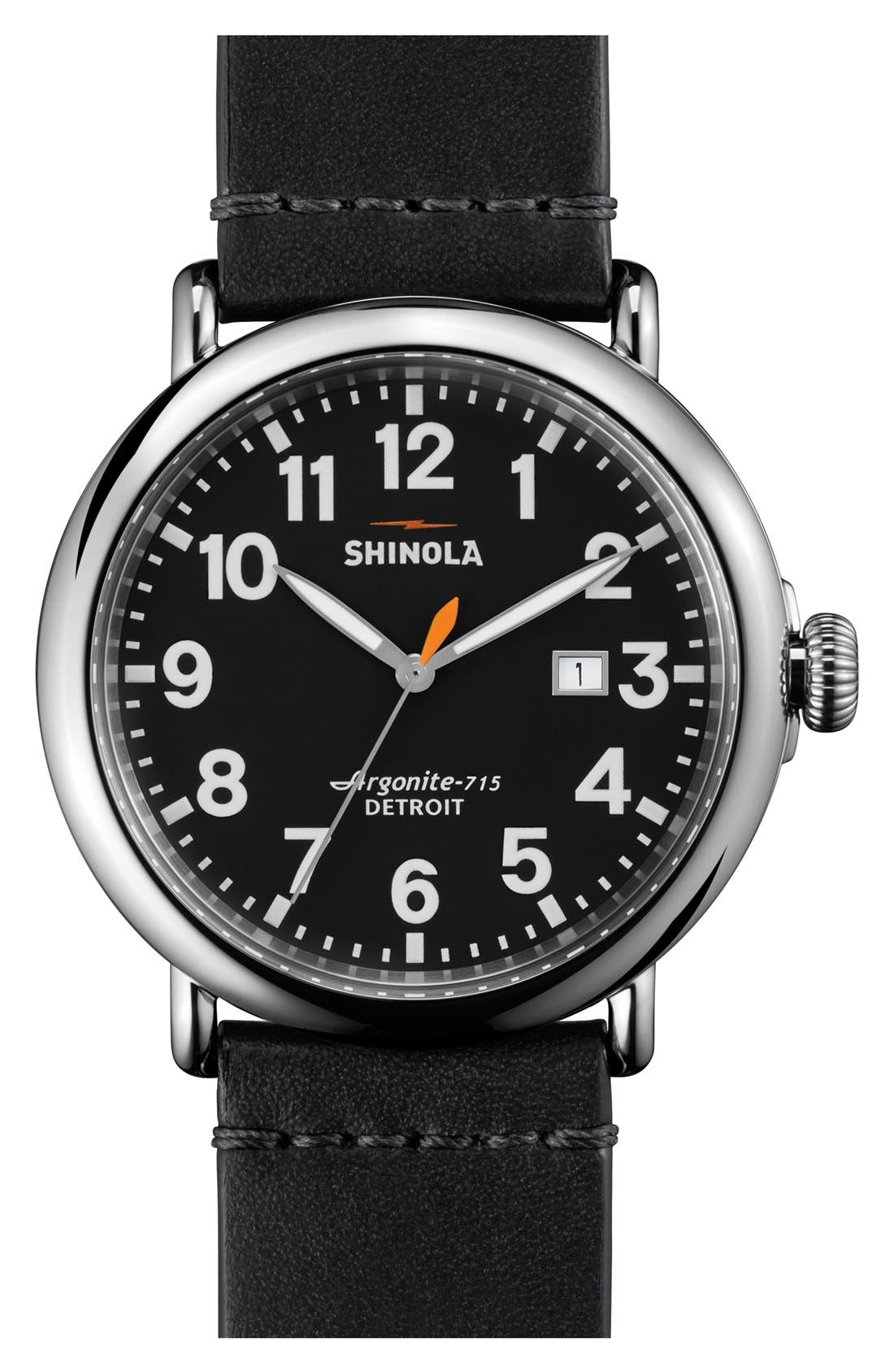 'The Runwell' Round Leather Strap Watch, 47mm,                             Main thumbnail 1, color,                             001
