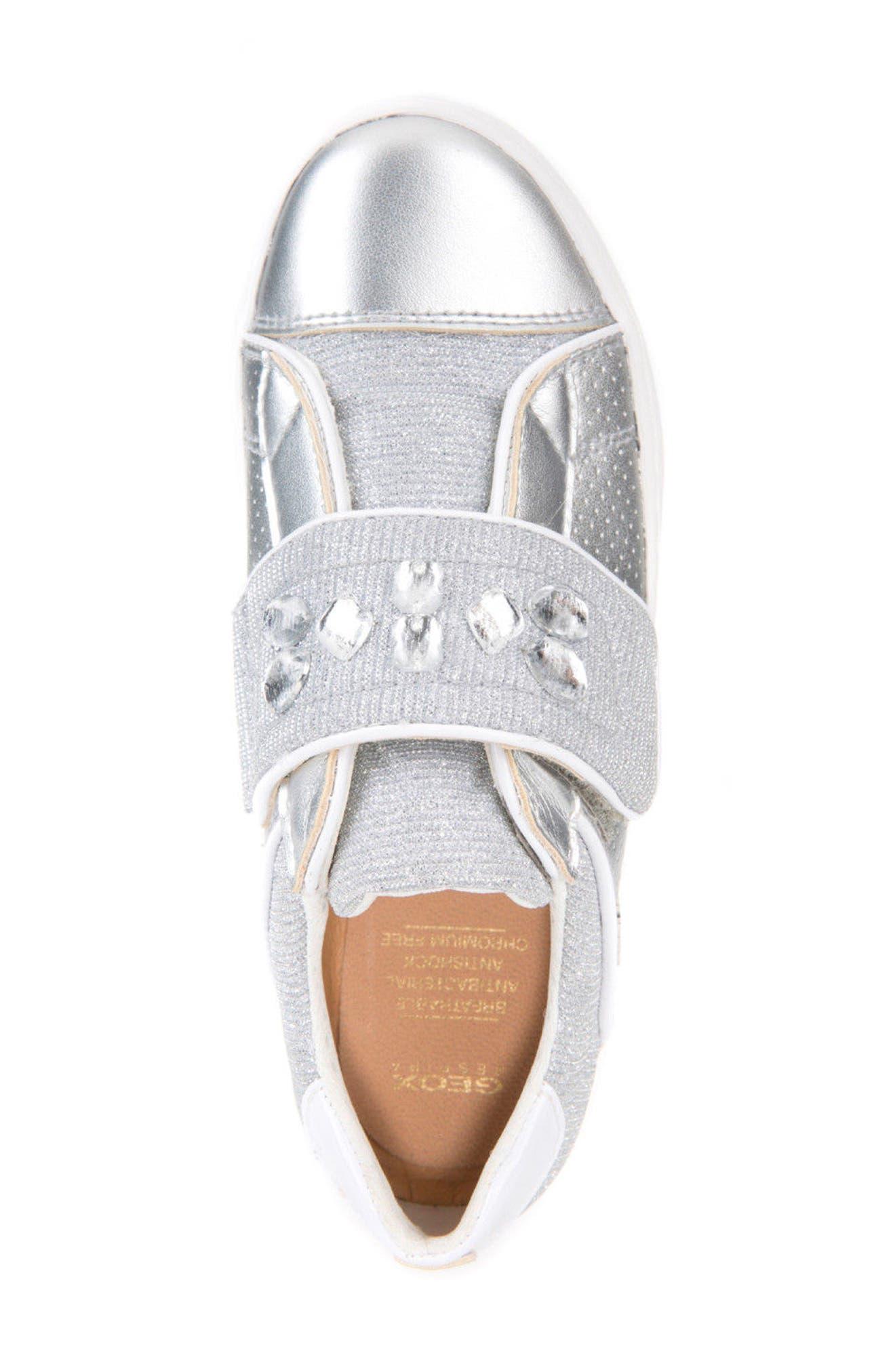 Kilwi Metallic Embellished Sneaker,                             Alternate thumbnail 5, color,                             SILVER