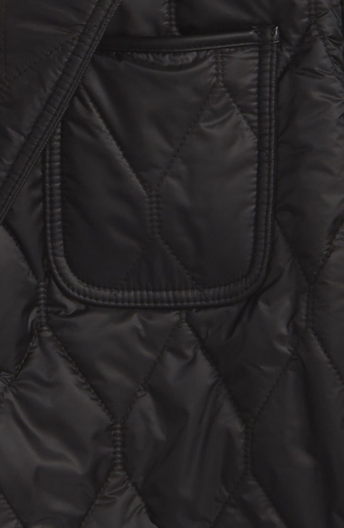 Gillington Water Resistant Quilted Jacket,                             Alternate thumbnail 3, color,                             BLACK
