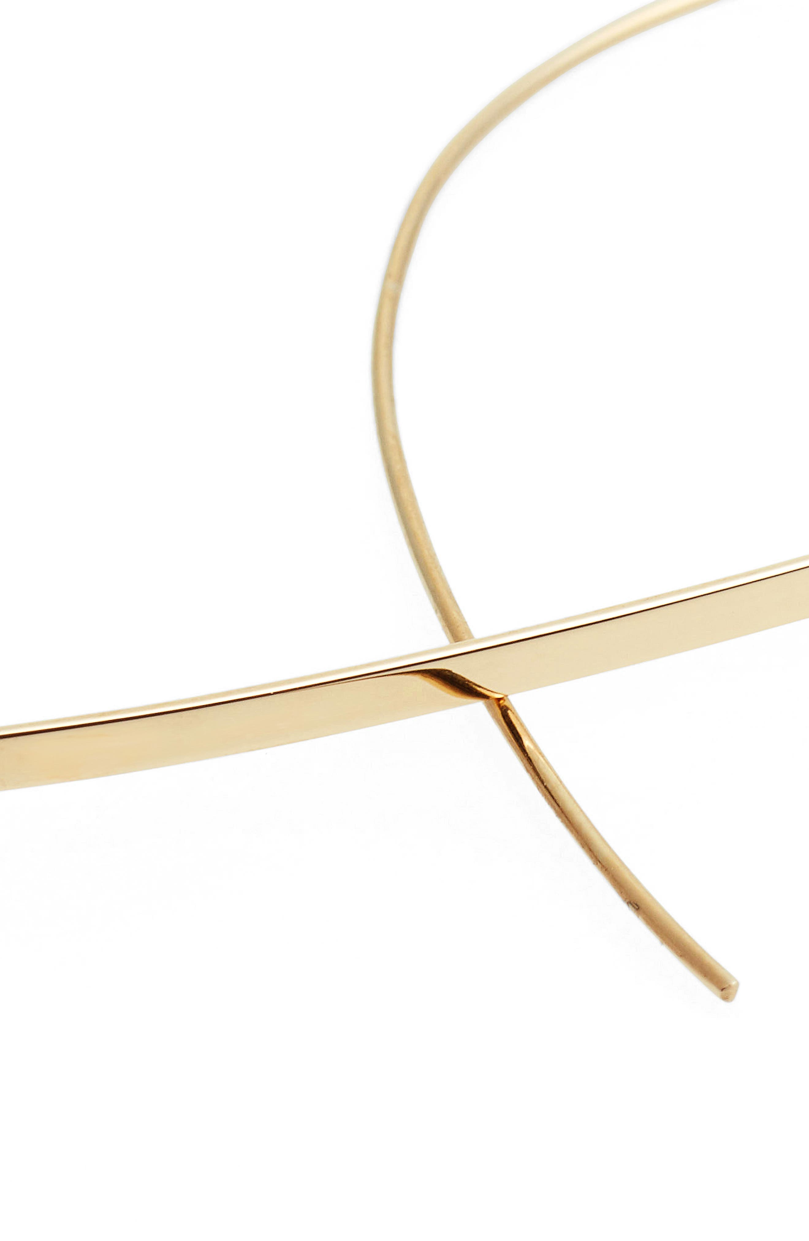 Medium Upside Down Hoop Earrings,                             Alternate thumbnail 4, color,                             YELLOW GOLD