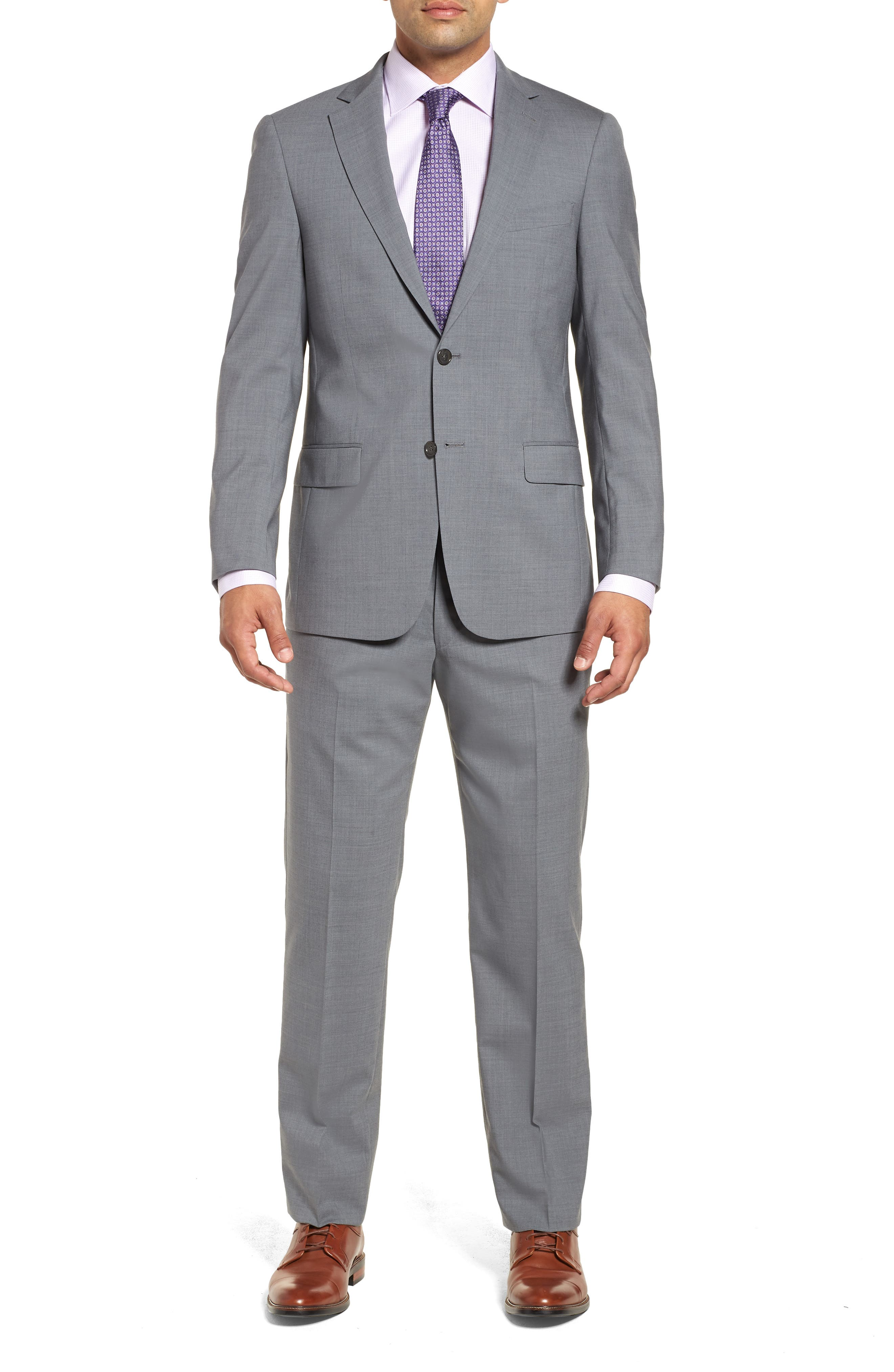 Classic Fit Solid Stretch Wool Suit,                         Main,                         color,