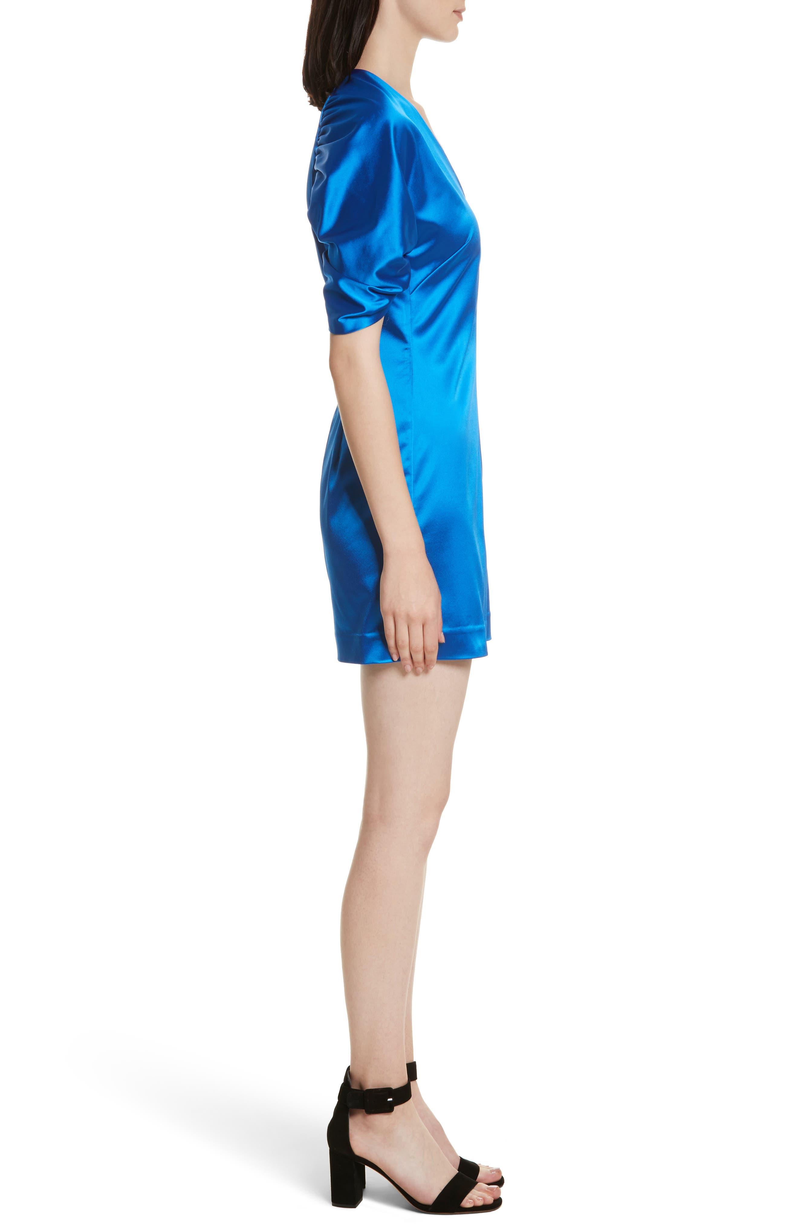 Sloan Duchess Satin Dress,                             Alternate thumbnail 3, color,                             435