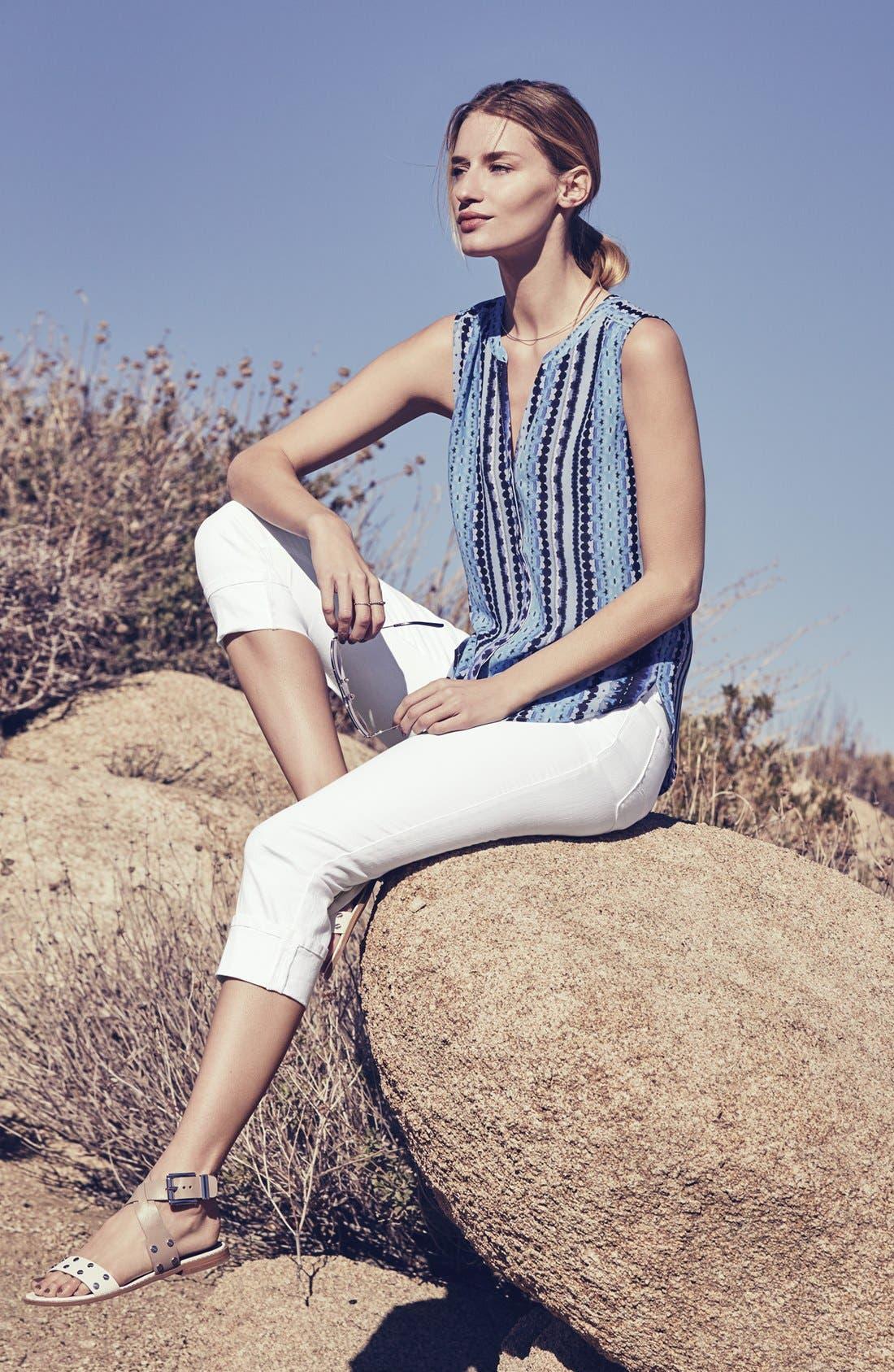 'Dayla' Colored Wide Cuff Capri Jeans,                             Alternate thumbnail 6, color,                             001