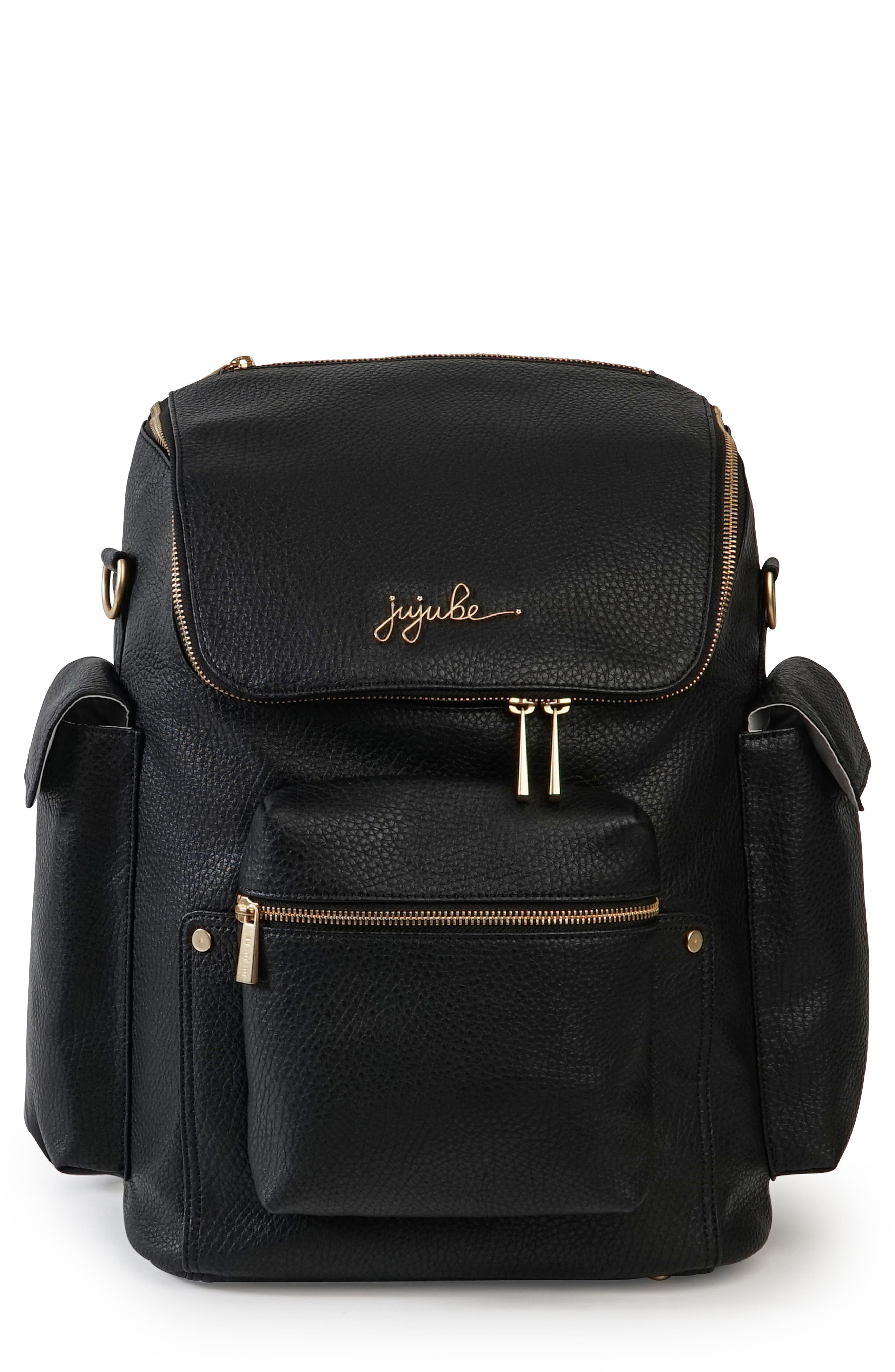 Ever Collection Forever Faux Leather Diaper Backpack,                             Main thumbnail 1, color,                             NOIR