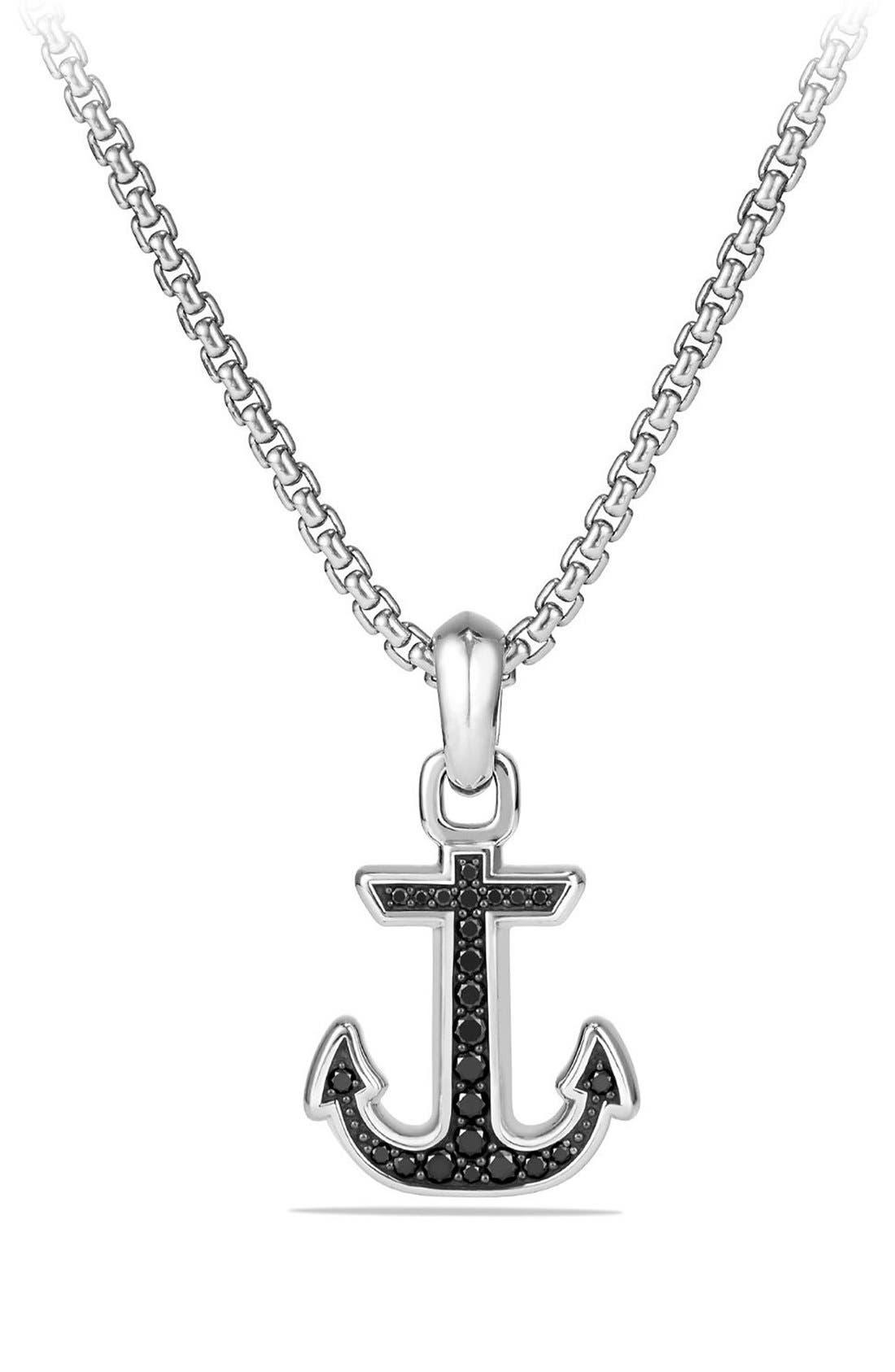 'Maritime' Anchor Amulet,                             Main thumbnail 1, color,                             SILVER/ BLACK DIAMOND