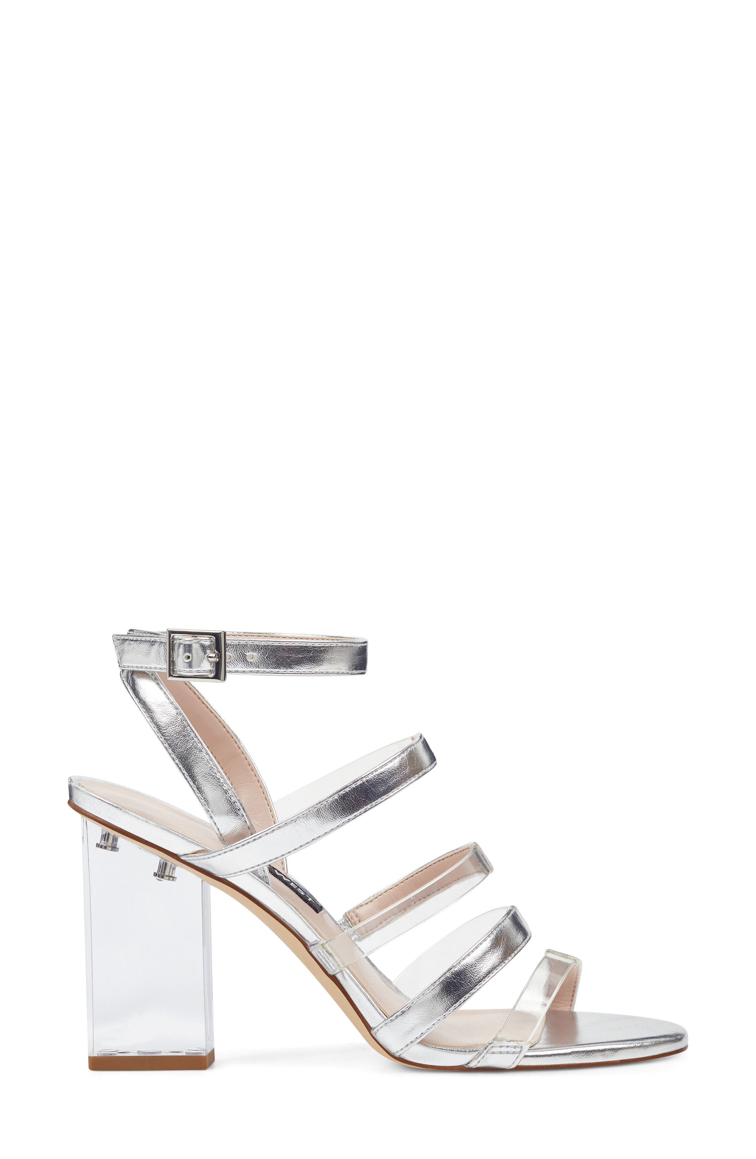 Fazzani Cage Sandal,                             Alternate thumbnail 3, color,                             CLEAR/ SILVER FAUX LEATHER