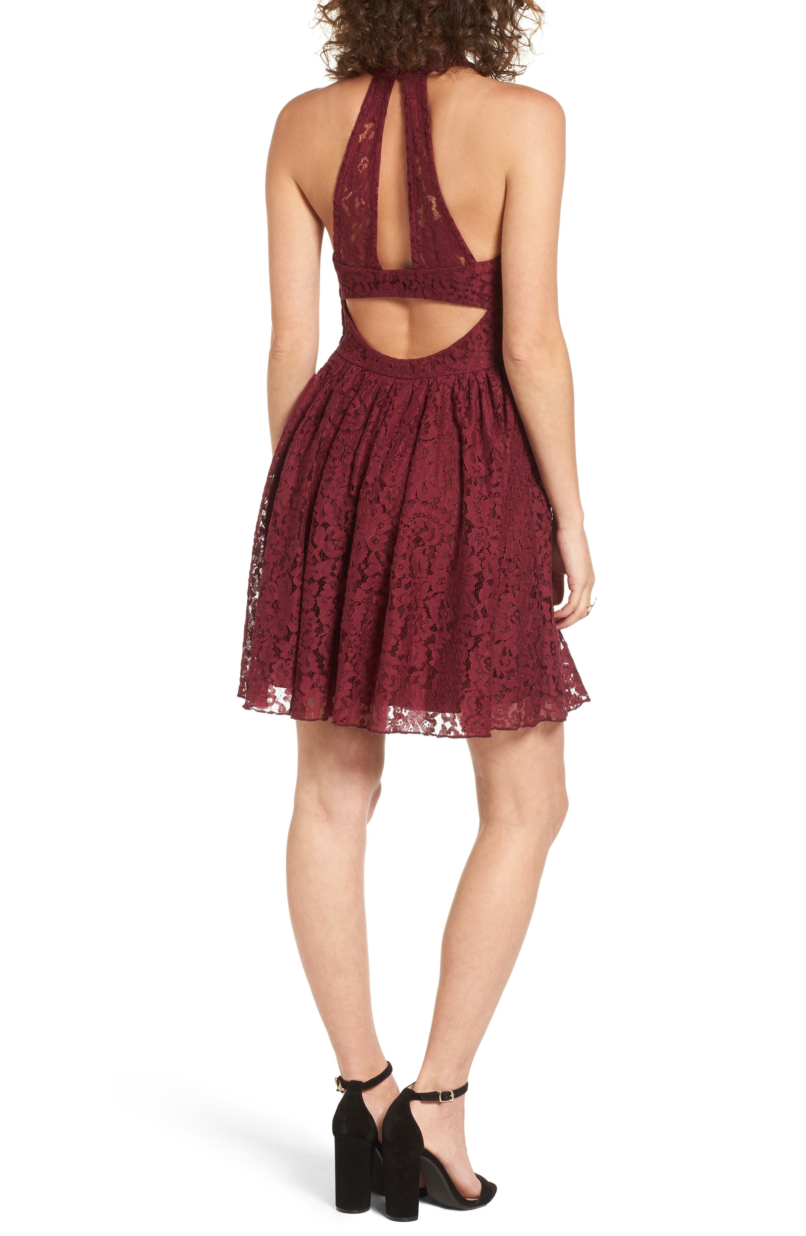 Gigi Lace Fit & Flare Dress,                             Alternate thumbnail 4, color,