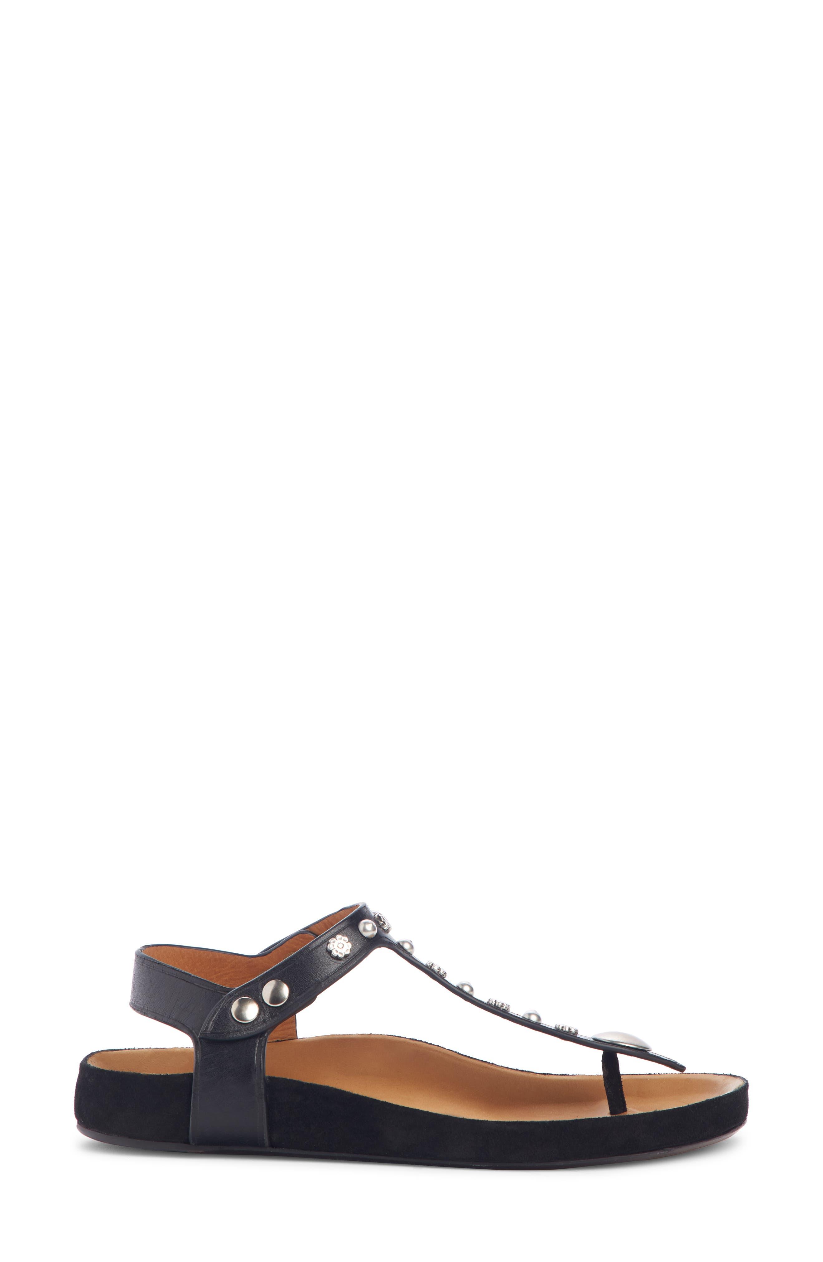 Enore Studded Sandal,                             Alternate thumbnail 3, color,                             BLACK